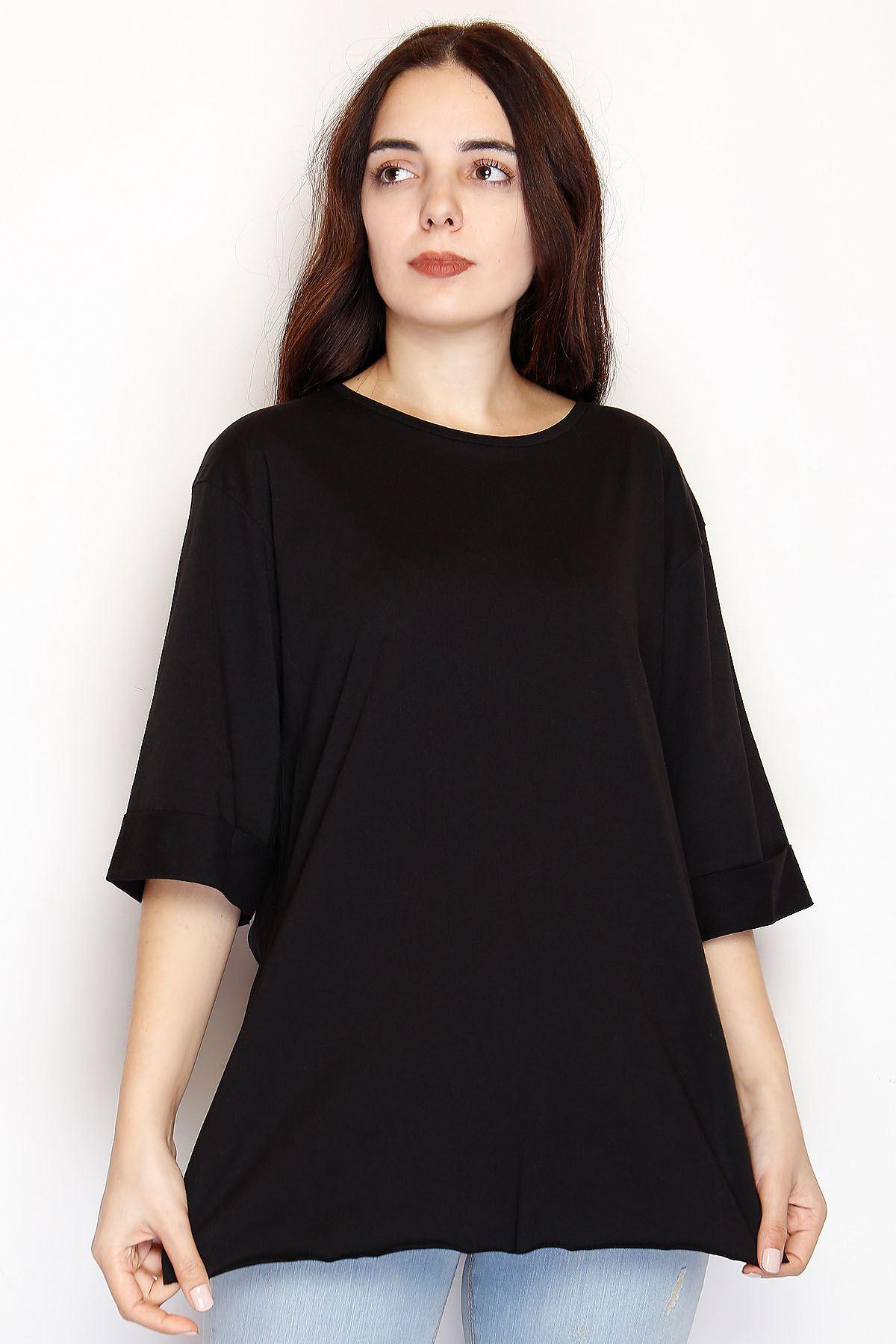 Yırtmaçlı Tunik Tişört Siyah - 1073.275.