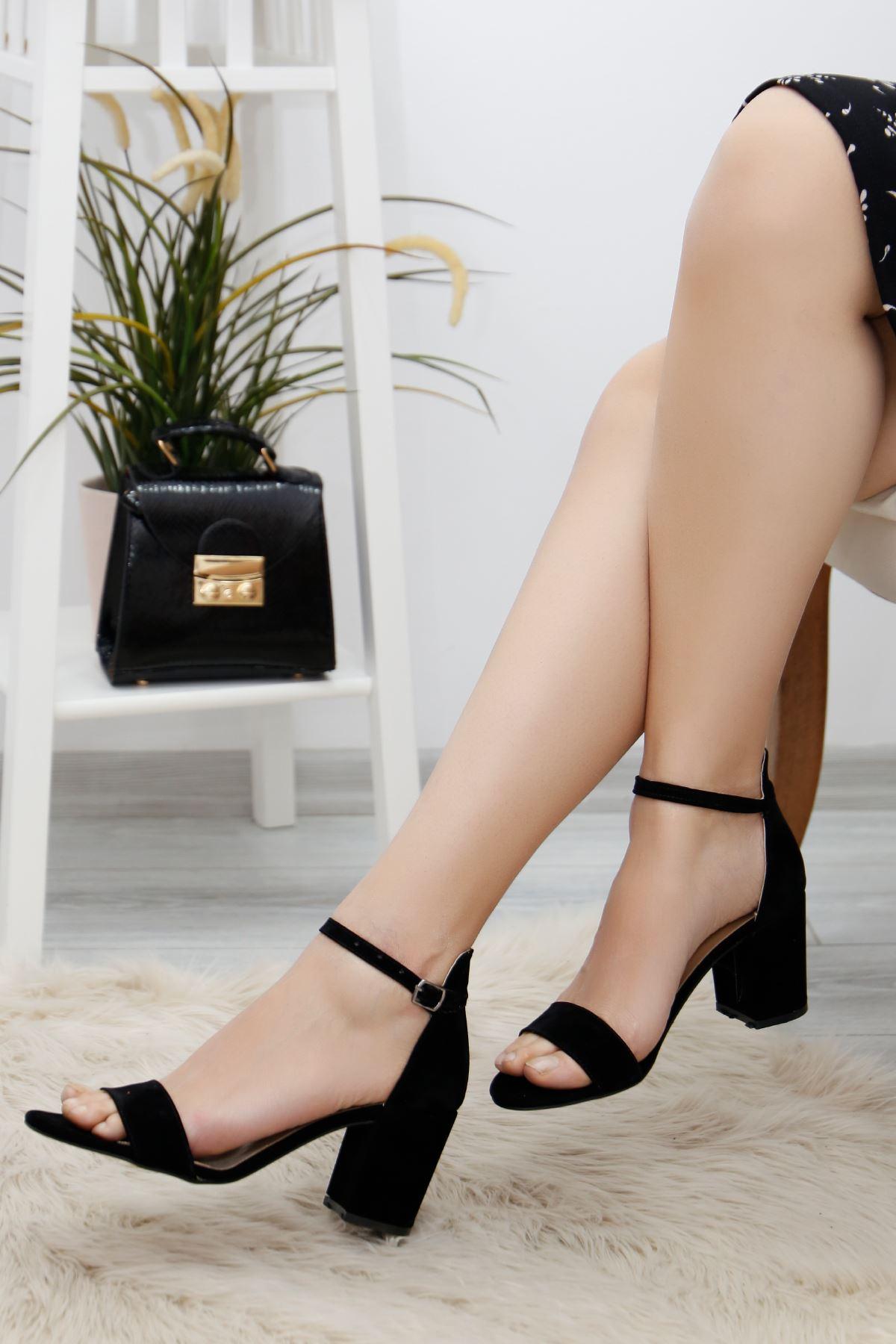 7cm Topuklu Ayakkabı Süetsiyah - 3900.264.