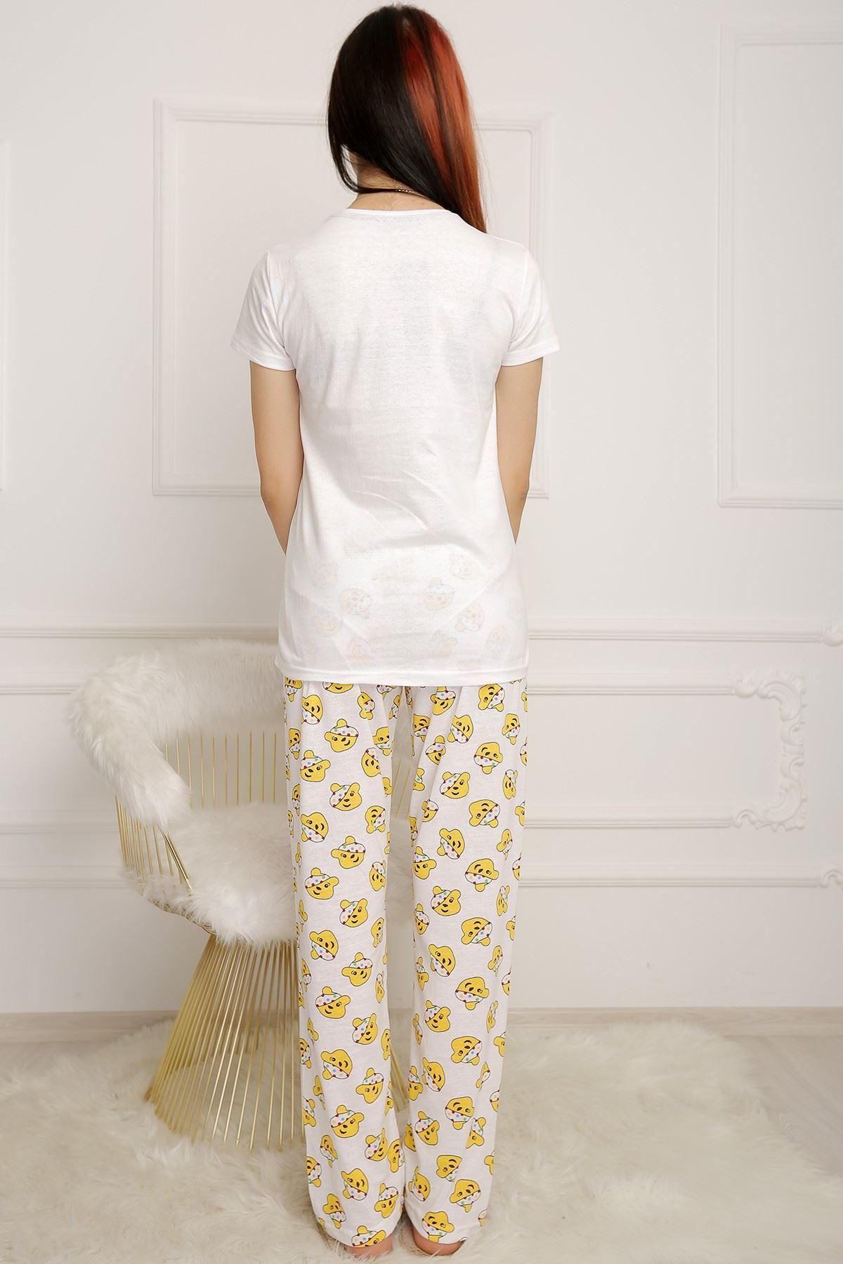 Kadın Pijama Takımı Beyaz - 2501.1059.