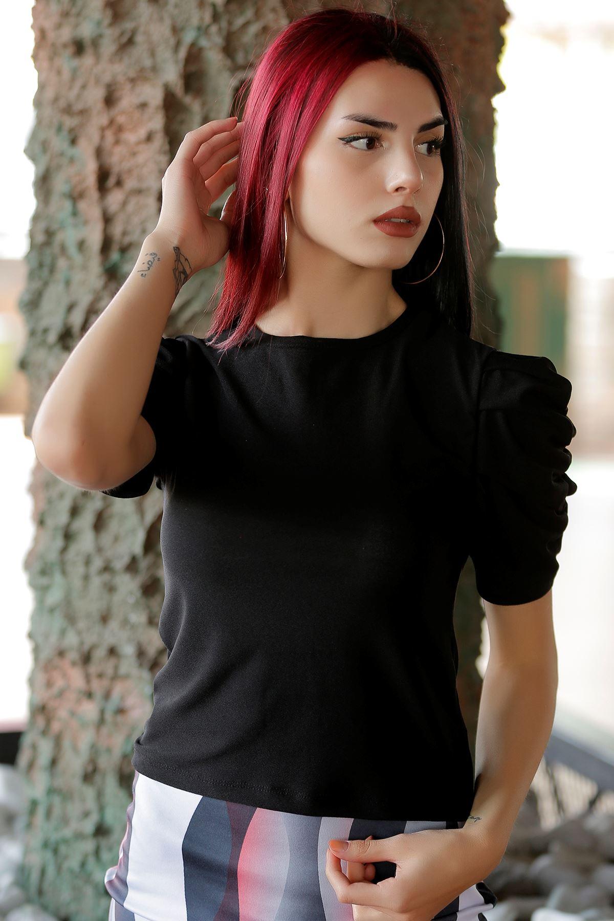 Kolları Büzgülü Bluz Siyah - 4114.1234.