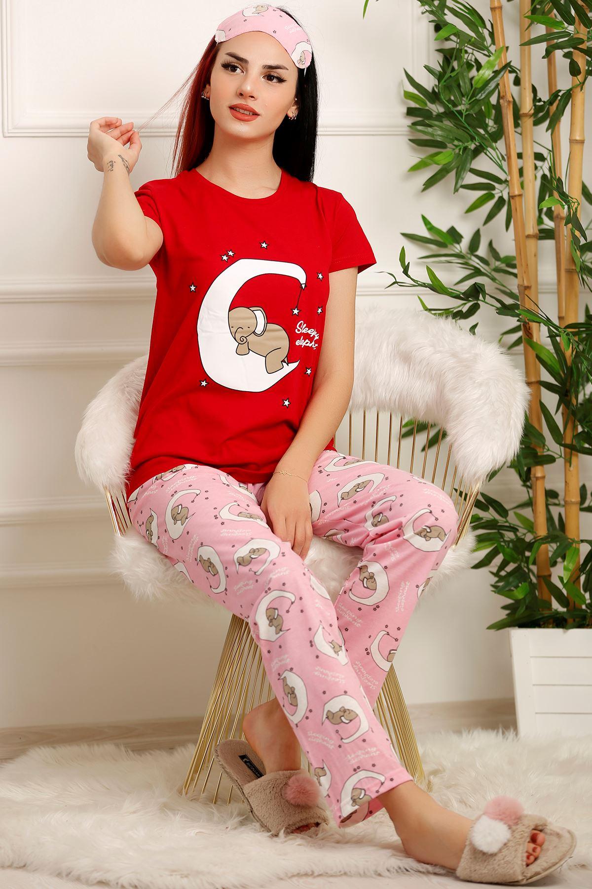 Kadın Pijama Takımı Kırmızı - 2328.1059.