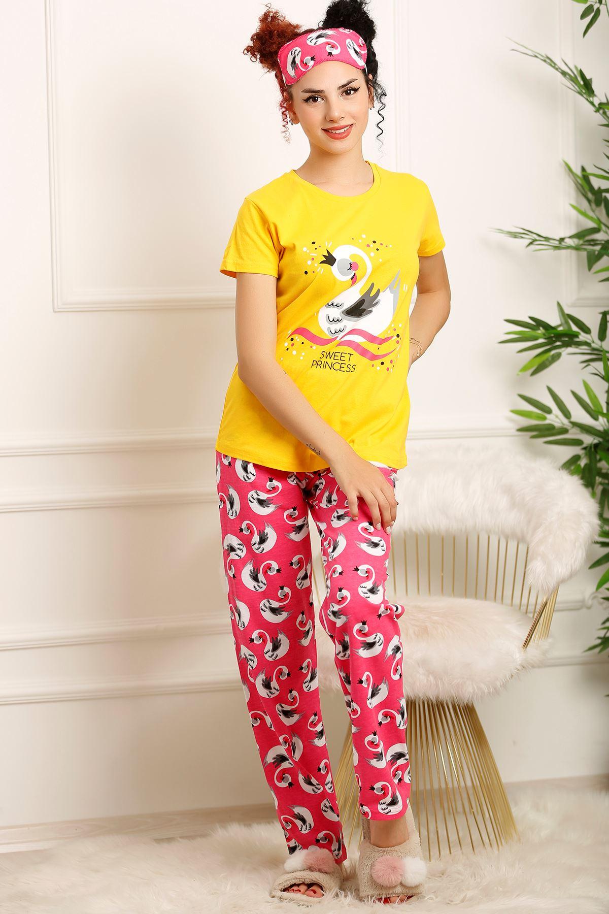 Kadın Pijama Takımı Sarı - 20209.1059.