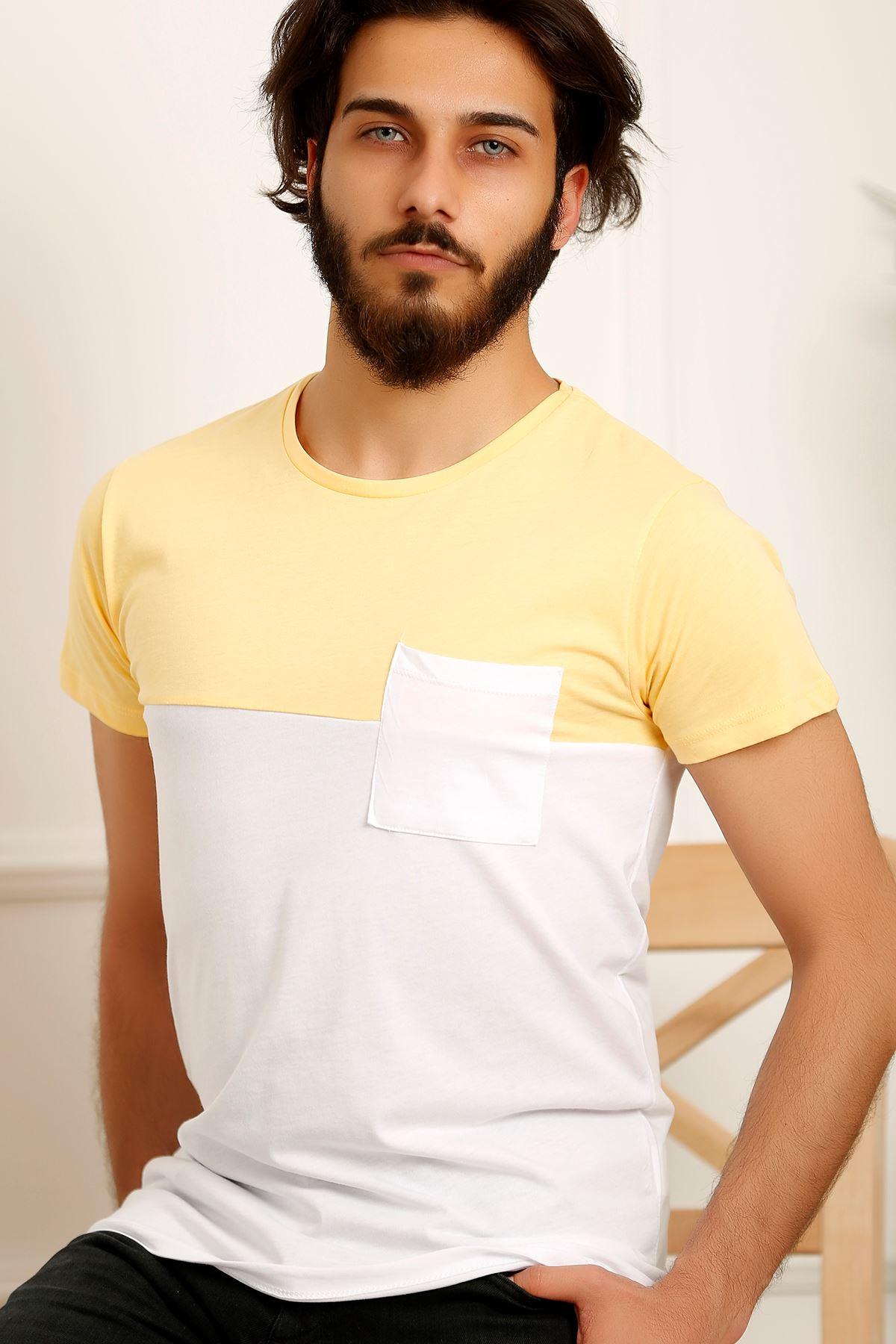 Erkek Parçalı Tişört Sarı - 3834.275.