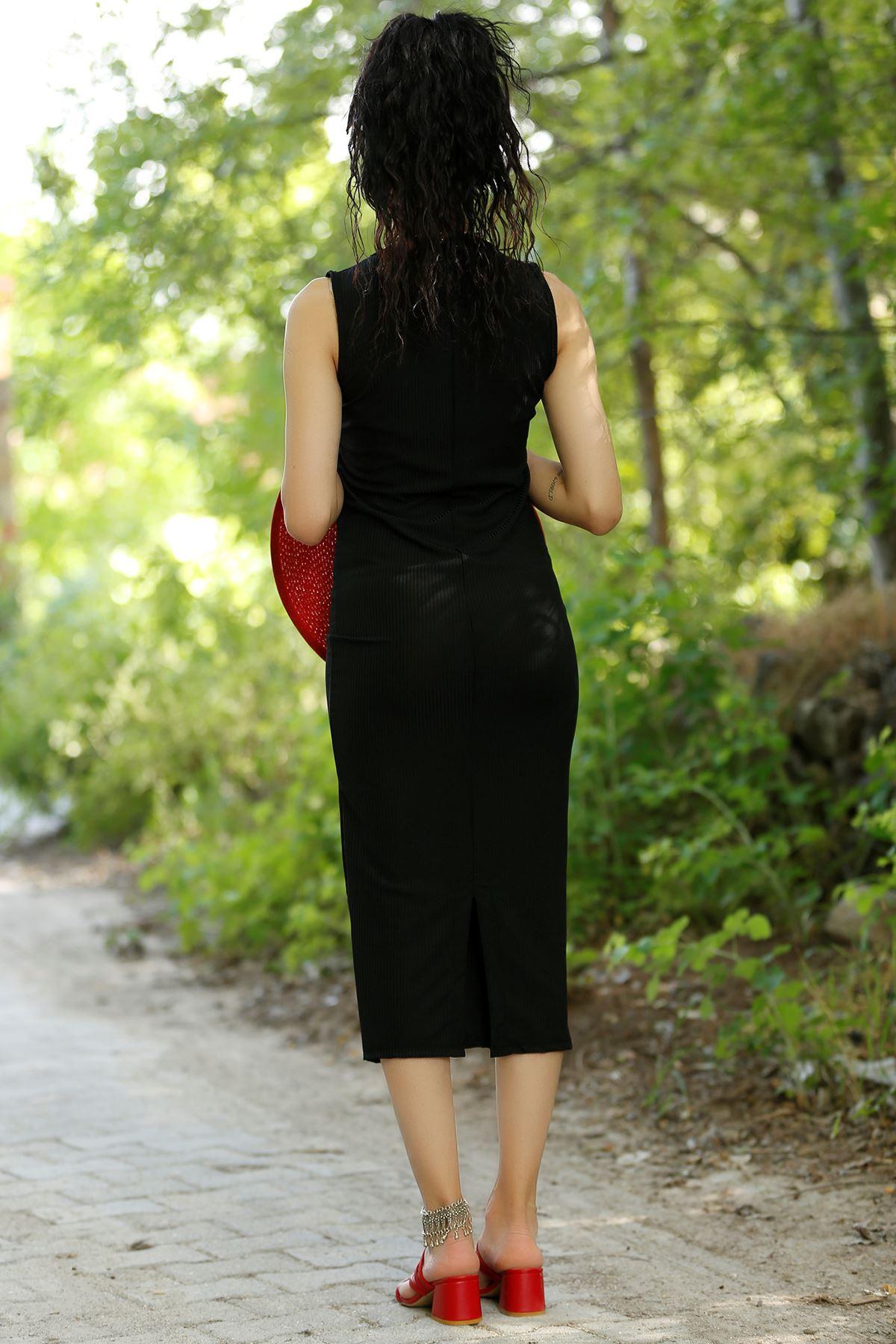 Sıfır Kol Elbise Siyah - 20272.1234.