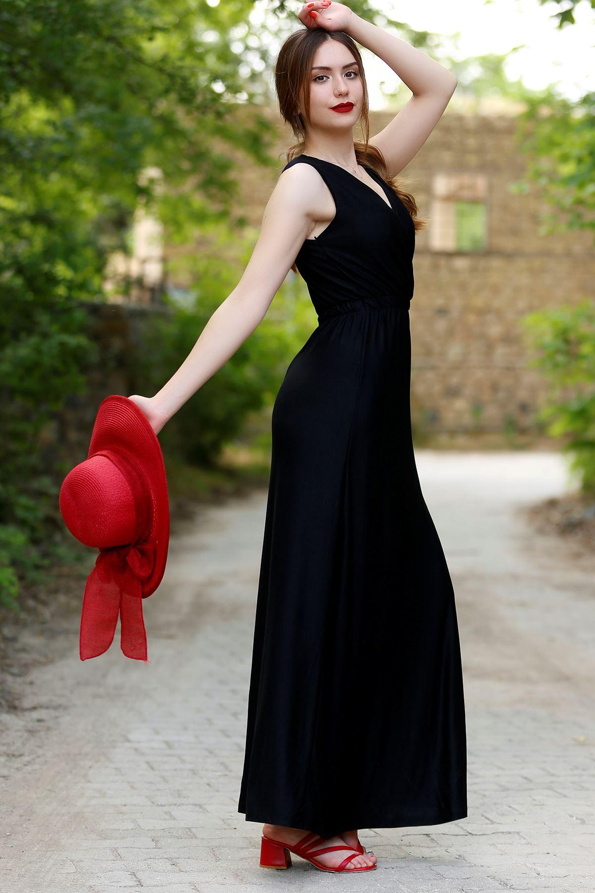 Sıfır Kol Kruvaze Elbise Siyah - 4278.716.