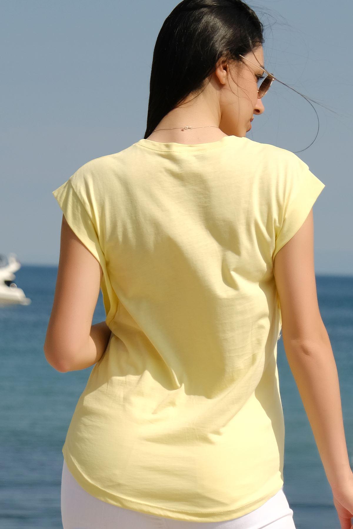Bisiklet Yaka Tişört Sarı - 3702.135.