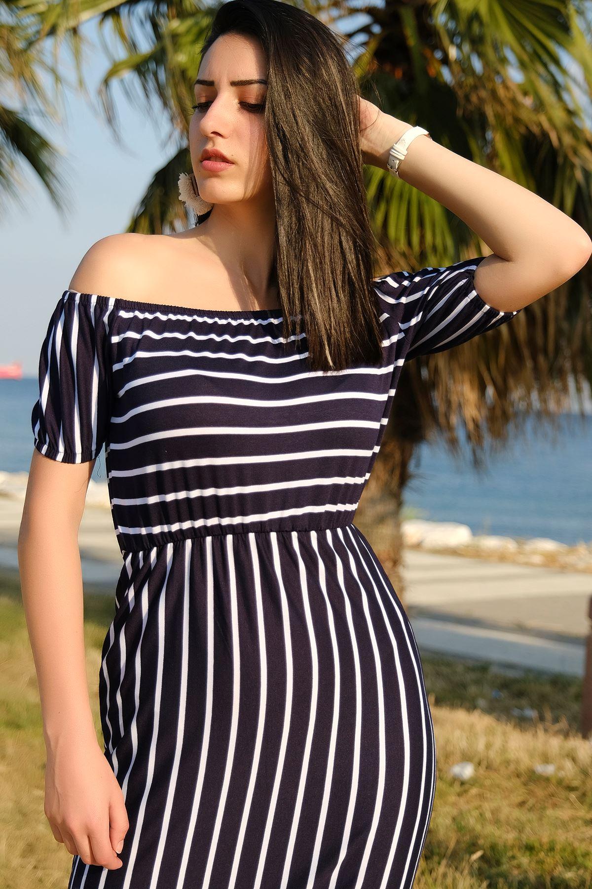 Yakası Lastikli Elbise Lacibeyaz - 4279.716.