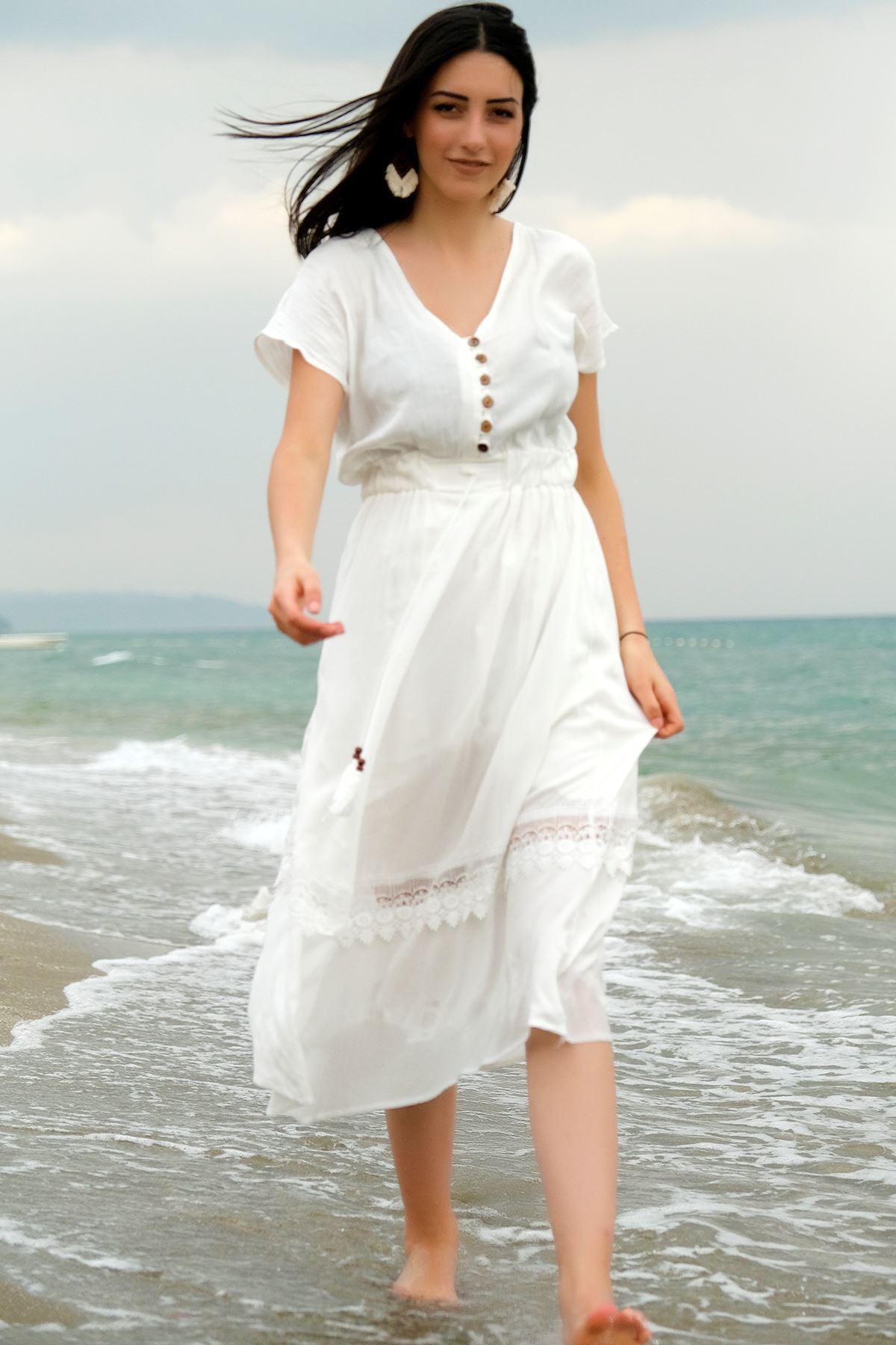 Asimetrik Dantelli Elbise Beyaz - 4210.1219.