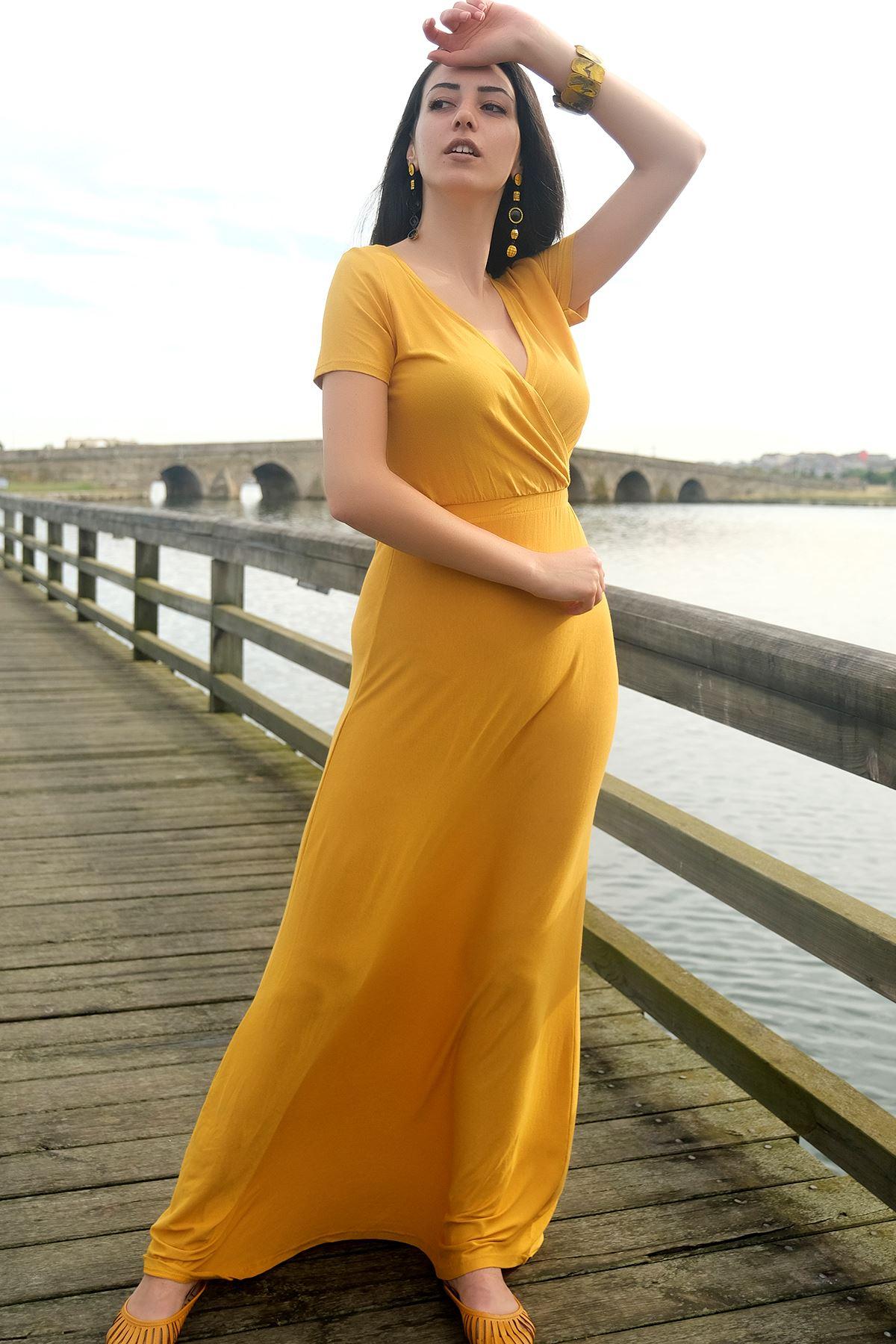 Kruvaze Elbise Sarı - 4216.716.