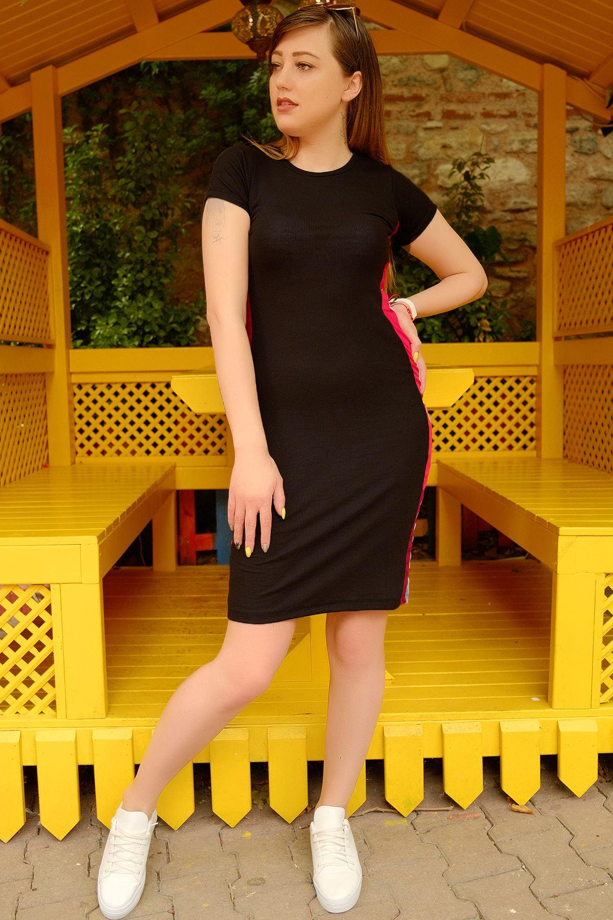Büyük Beden Yanı Çizgili Elbise Siyah - 1617.1256. - b.b