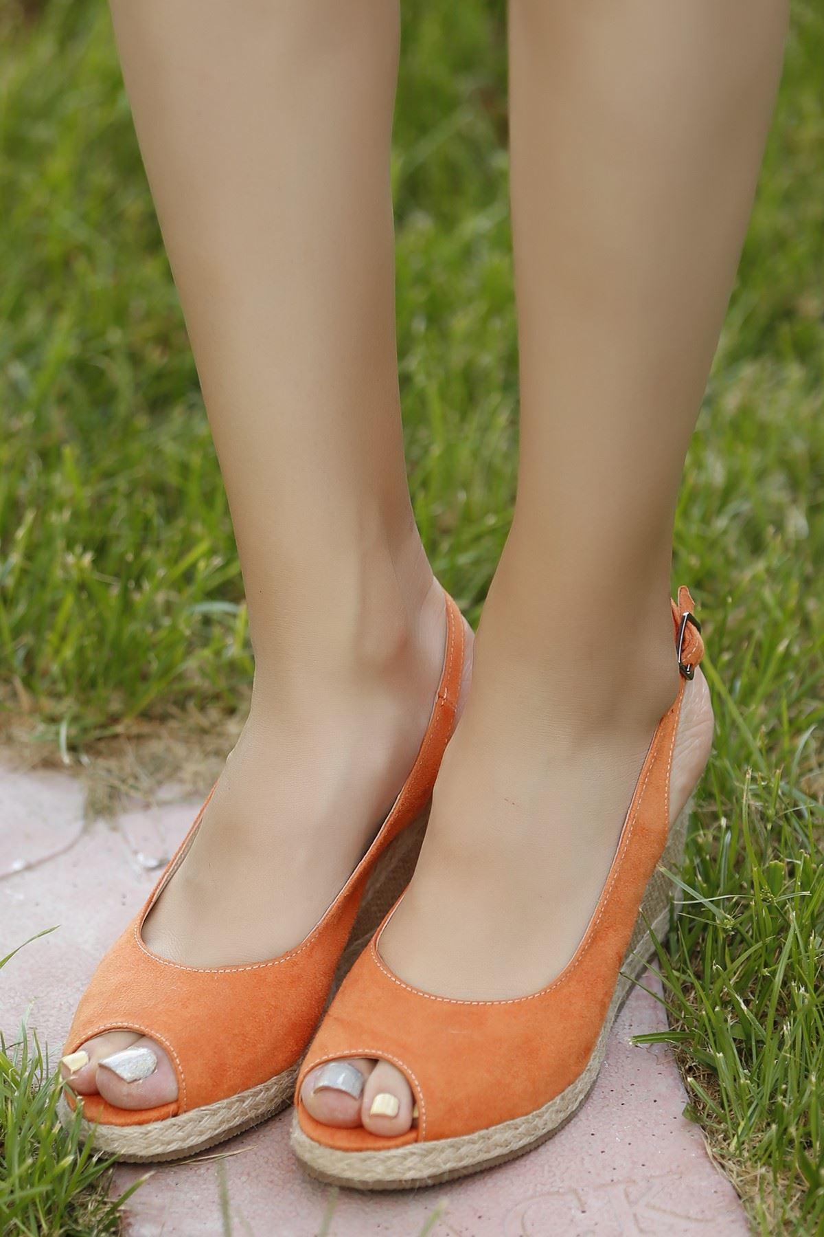 7cm Hasır Topuklu Sandalet Oranj - 4195.1204.