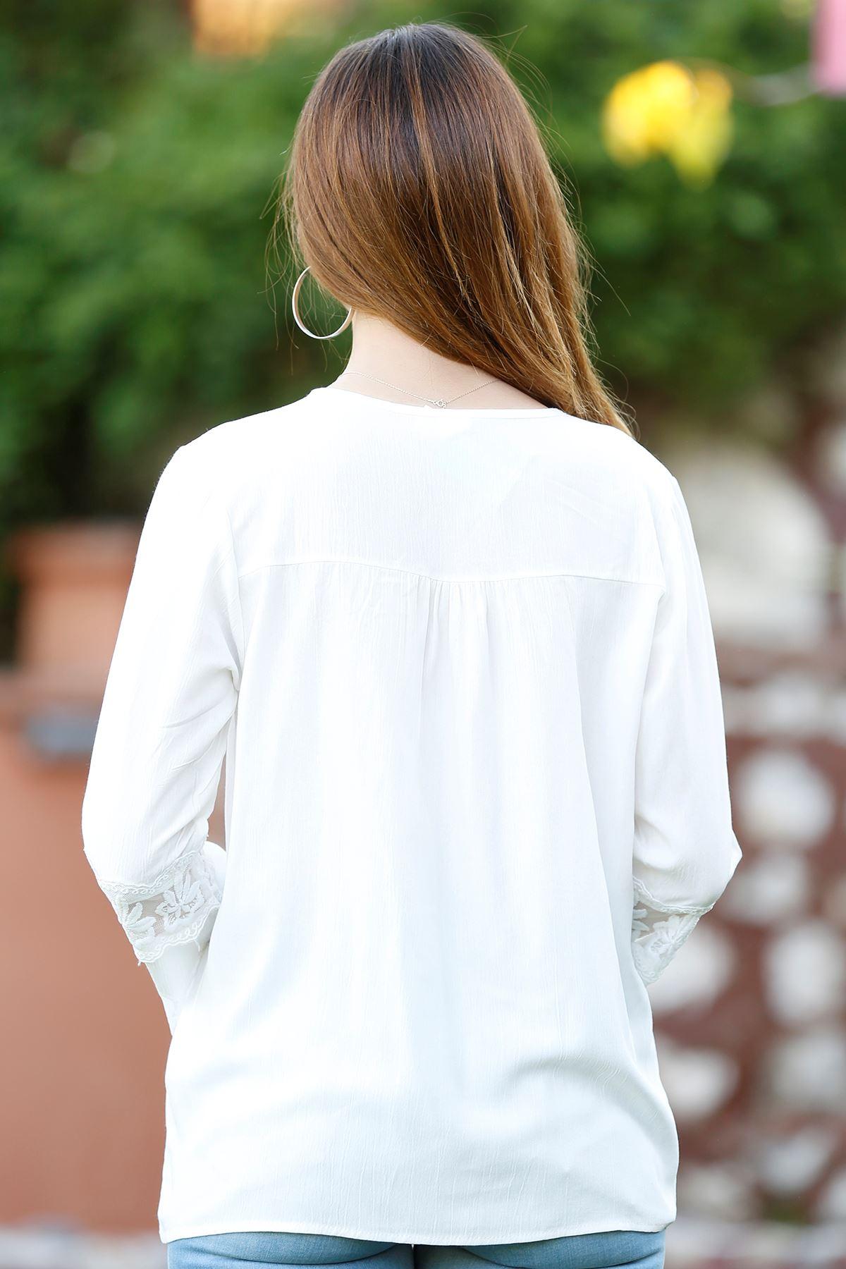 İspanyol Kol Bluz Beyaz - 4188.107.