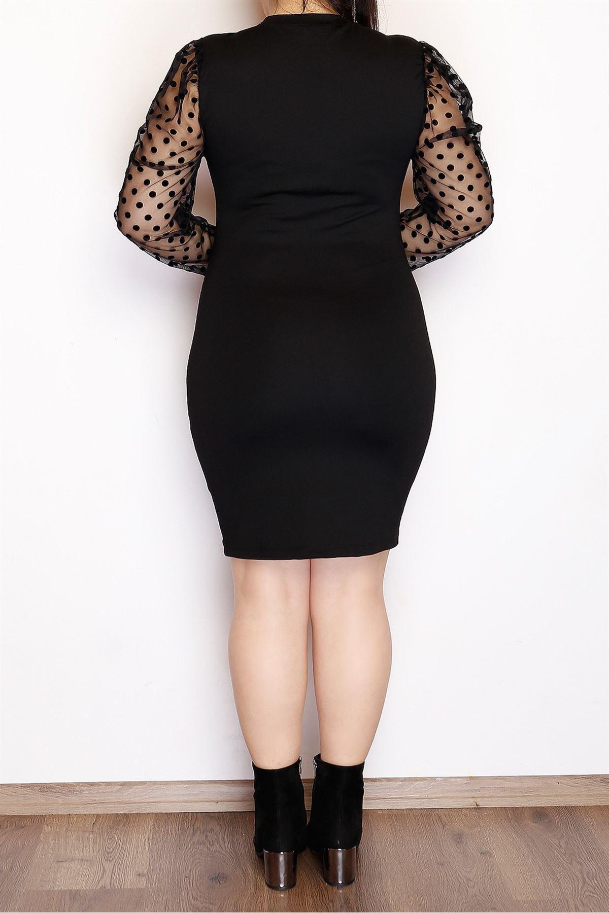 Kolları Puanlı Elbise Siyah - 3762.1256.