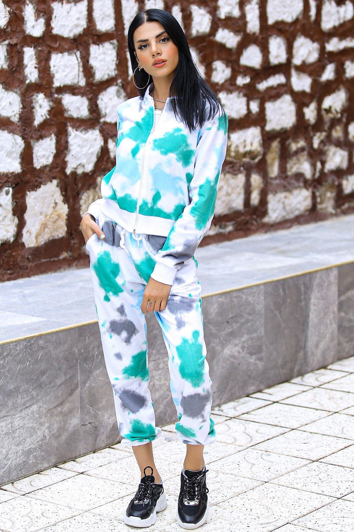 Batik Eşofman Takımı Beyazyeşil