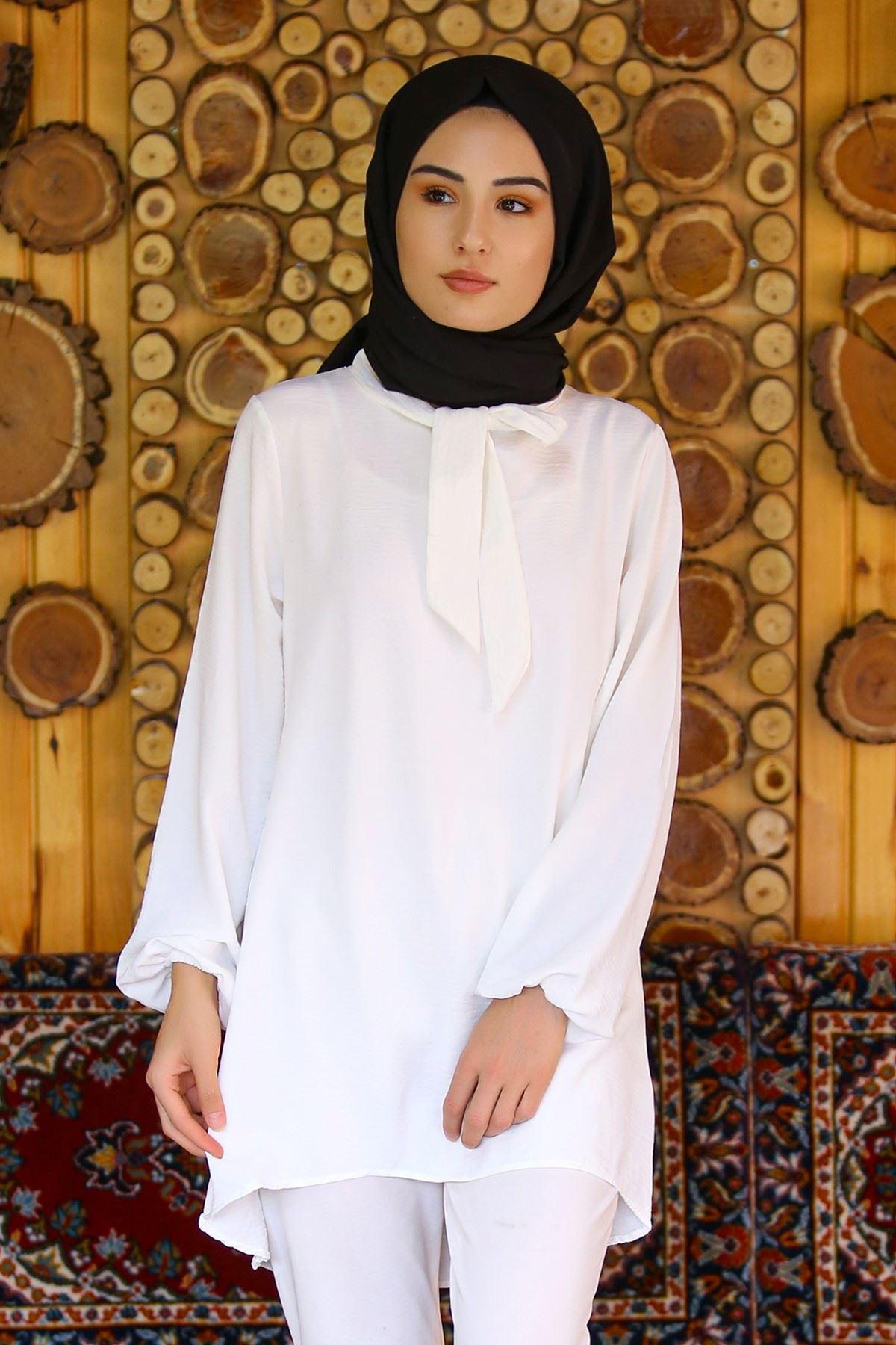 Fularlı Tunik Beyaz - 4009.1289. - y.s
