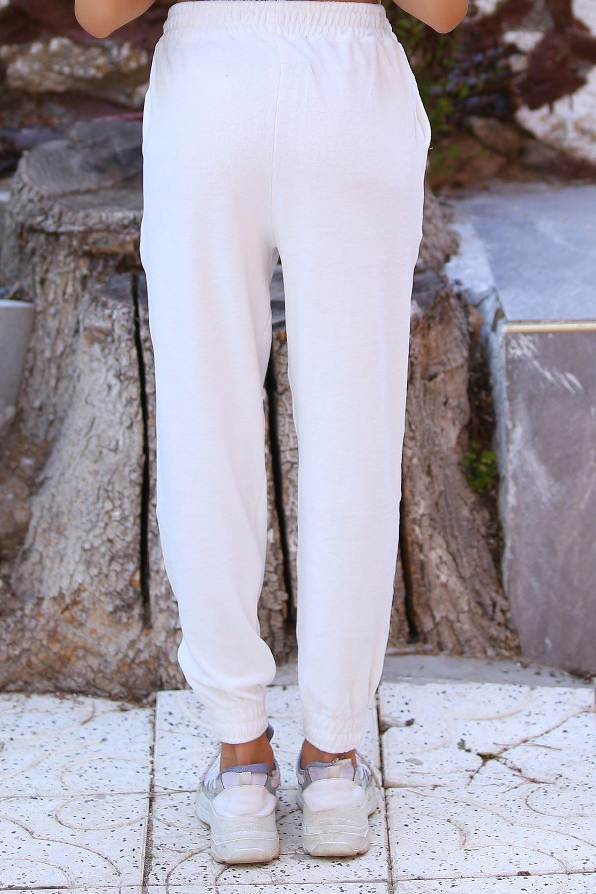 Havlu Kumaş Eşofman Altı Beyaz - 21020.101.