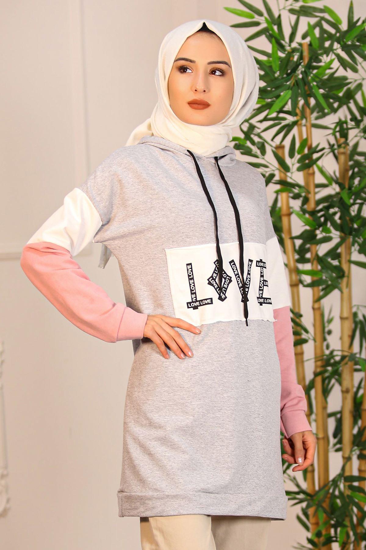Love Baskı Kapşonlu Tunik Gri - 4515.1251.
