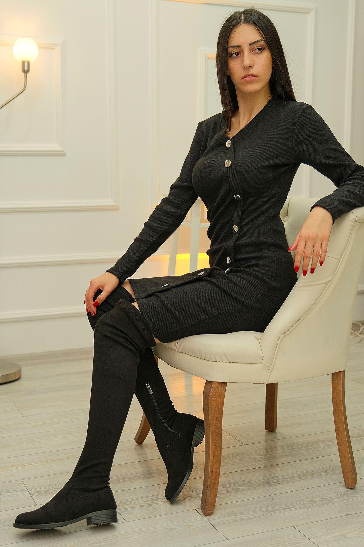 Yaka Düğmeli Elbise Siyah - 8081.1187.