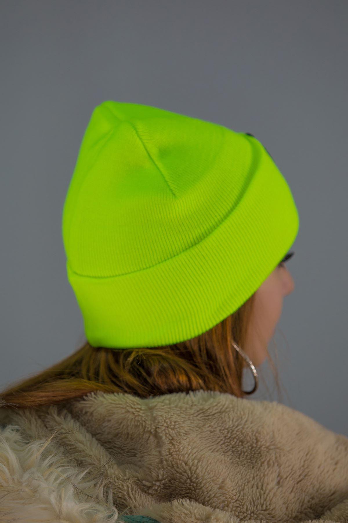 Nakışlı Katlamalı Bere Neonyeşil - 4618.1100.