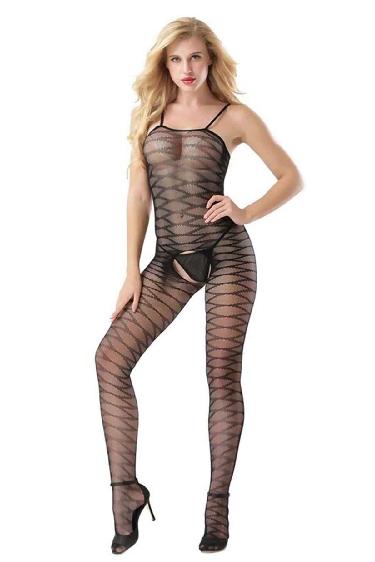 Dinamik Desenli Vücut Çorabı Siyah