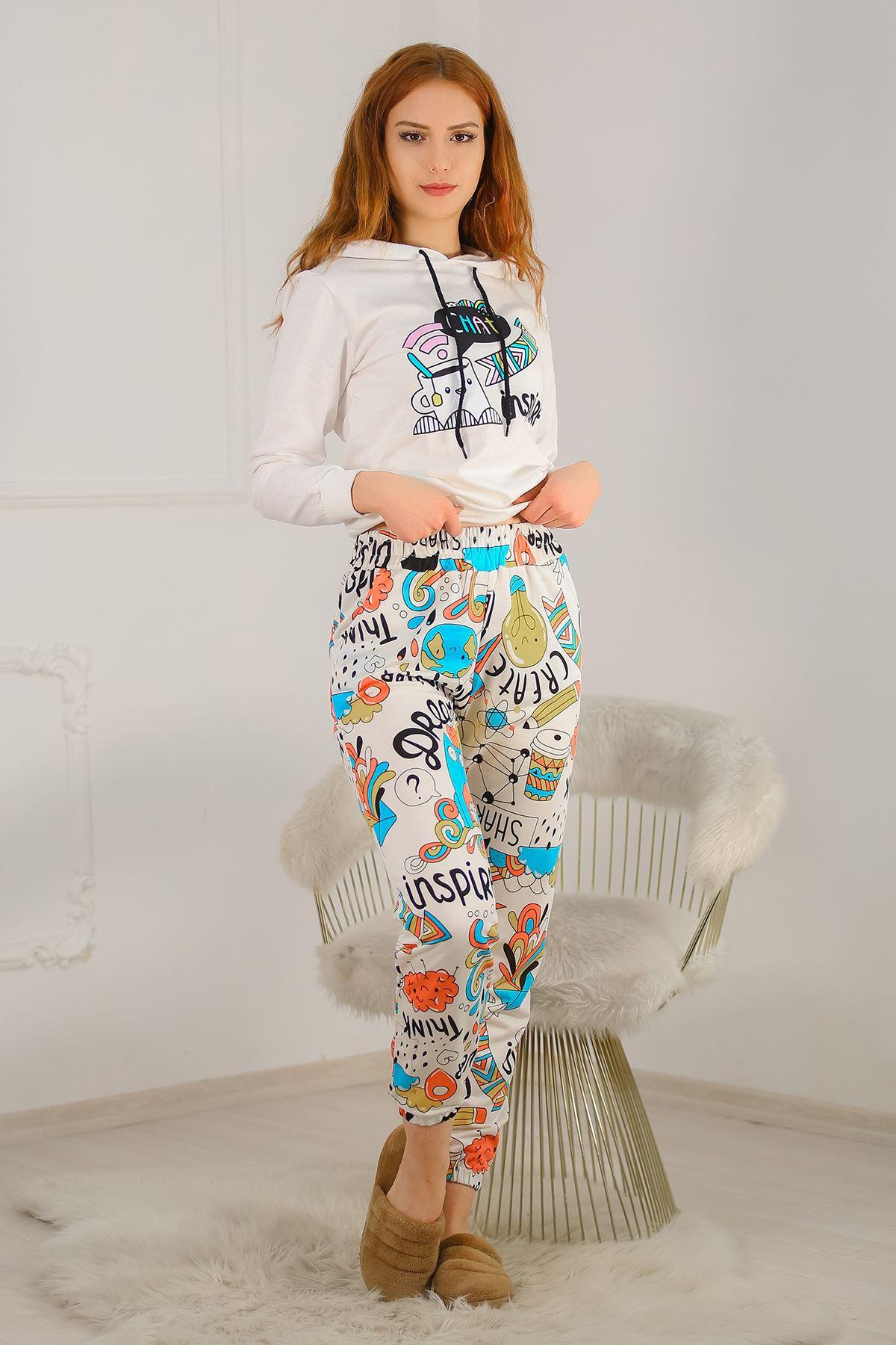 Kapşonlu Pijama Takımı Beyaz - 4664.1059.