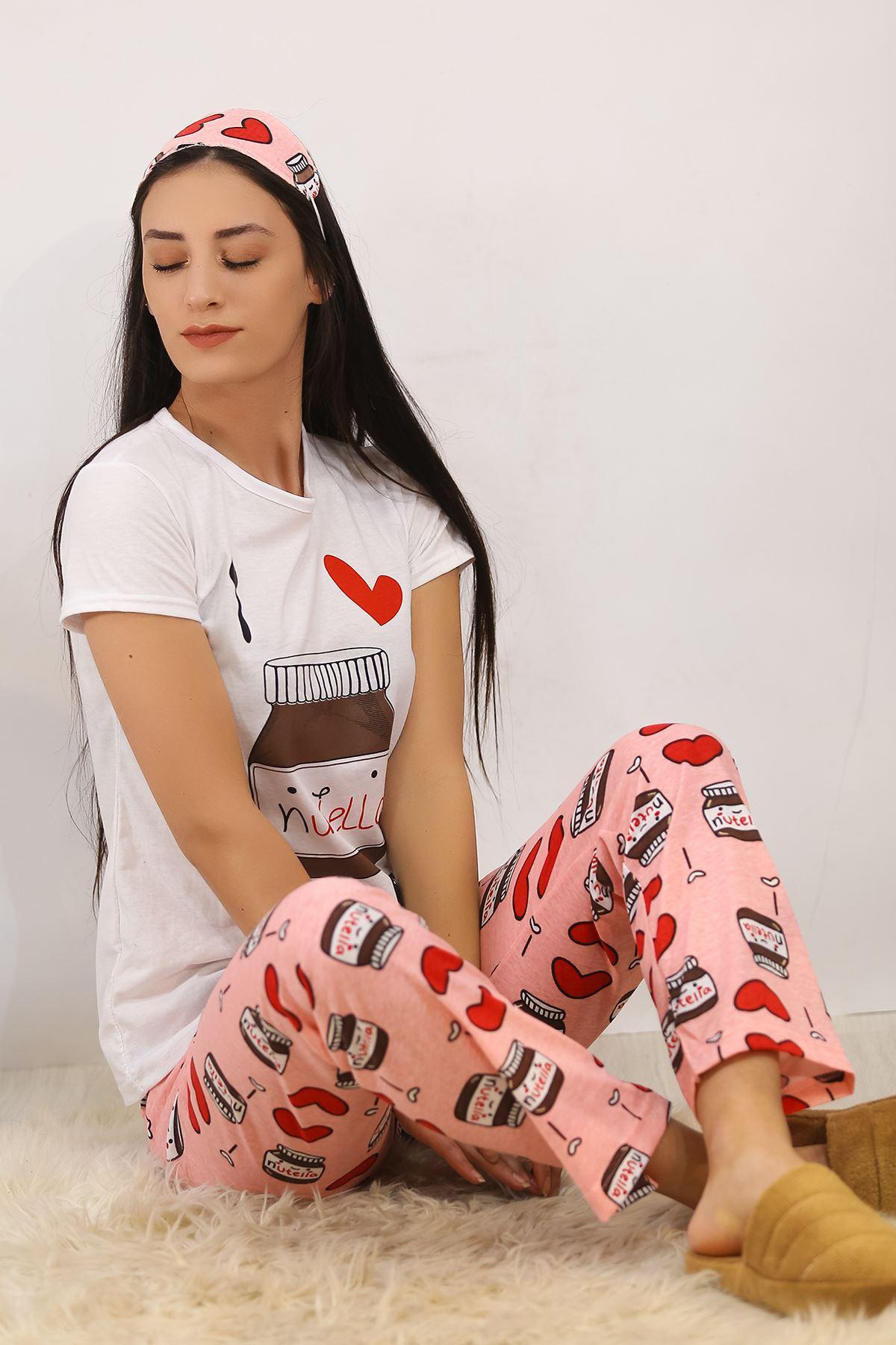 Baskılı Pijama Takımı Beyaz - 4703.102.