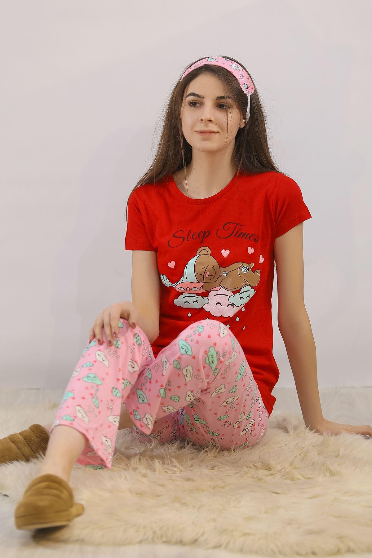 Baskılı Pijama Takımı Kırmızı - 4713.102.