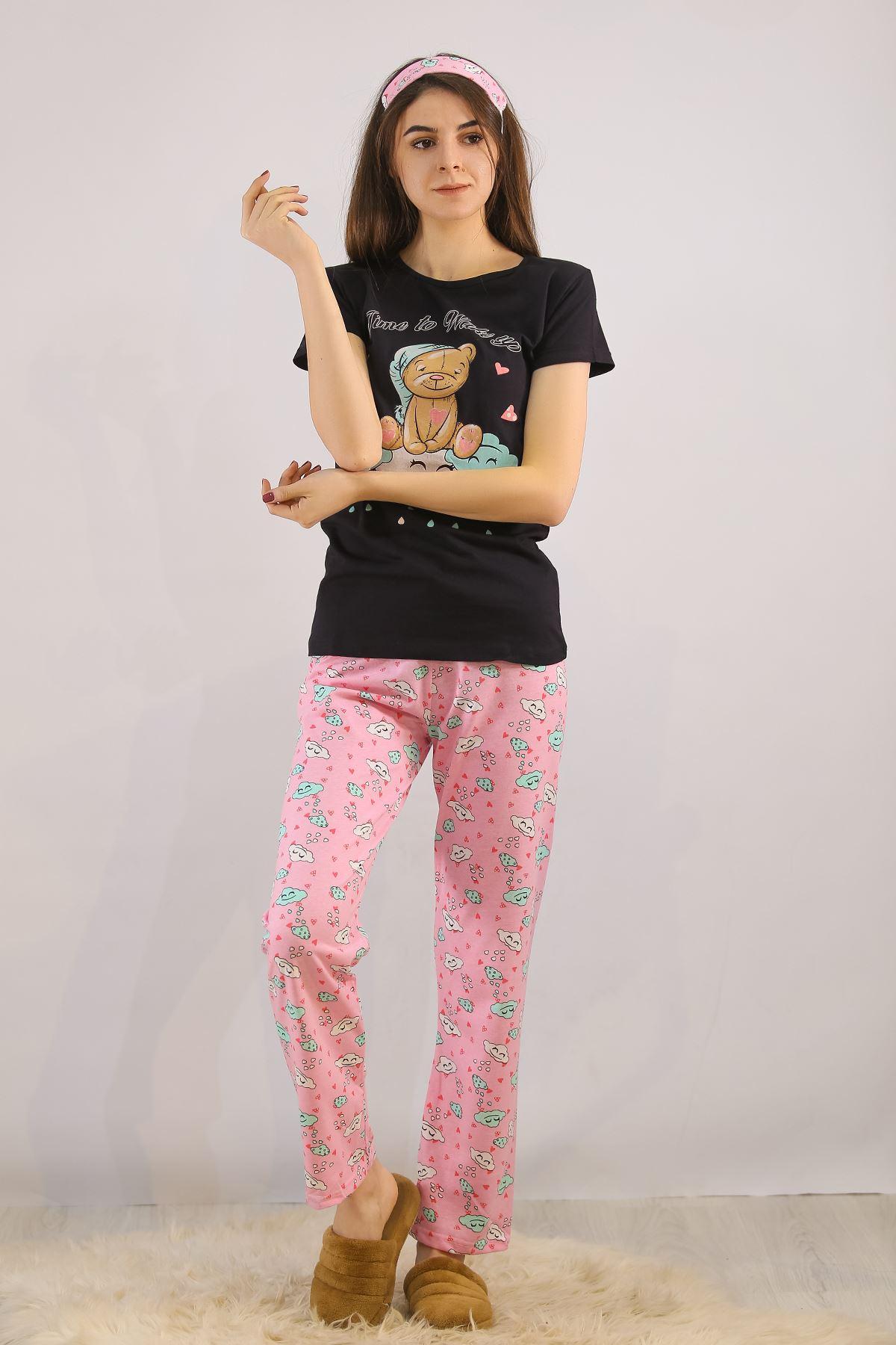 Baskılı Pijama Takımı Siyah - 4715.102.