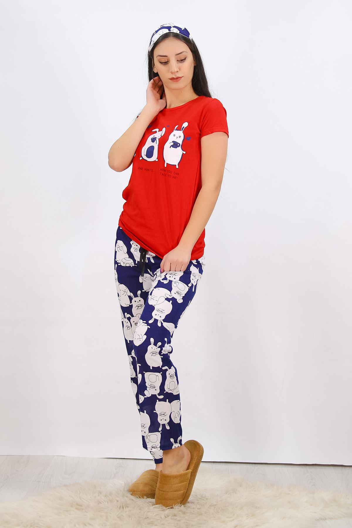 Baskılı Pijama Takımı Kırmızı - 4702.102.