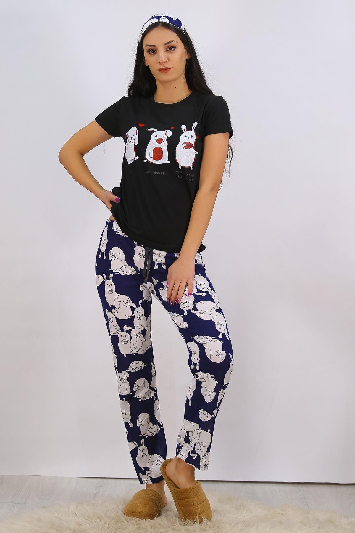 Baskılı Pijama Takımı Siyah - 4702.102.