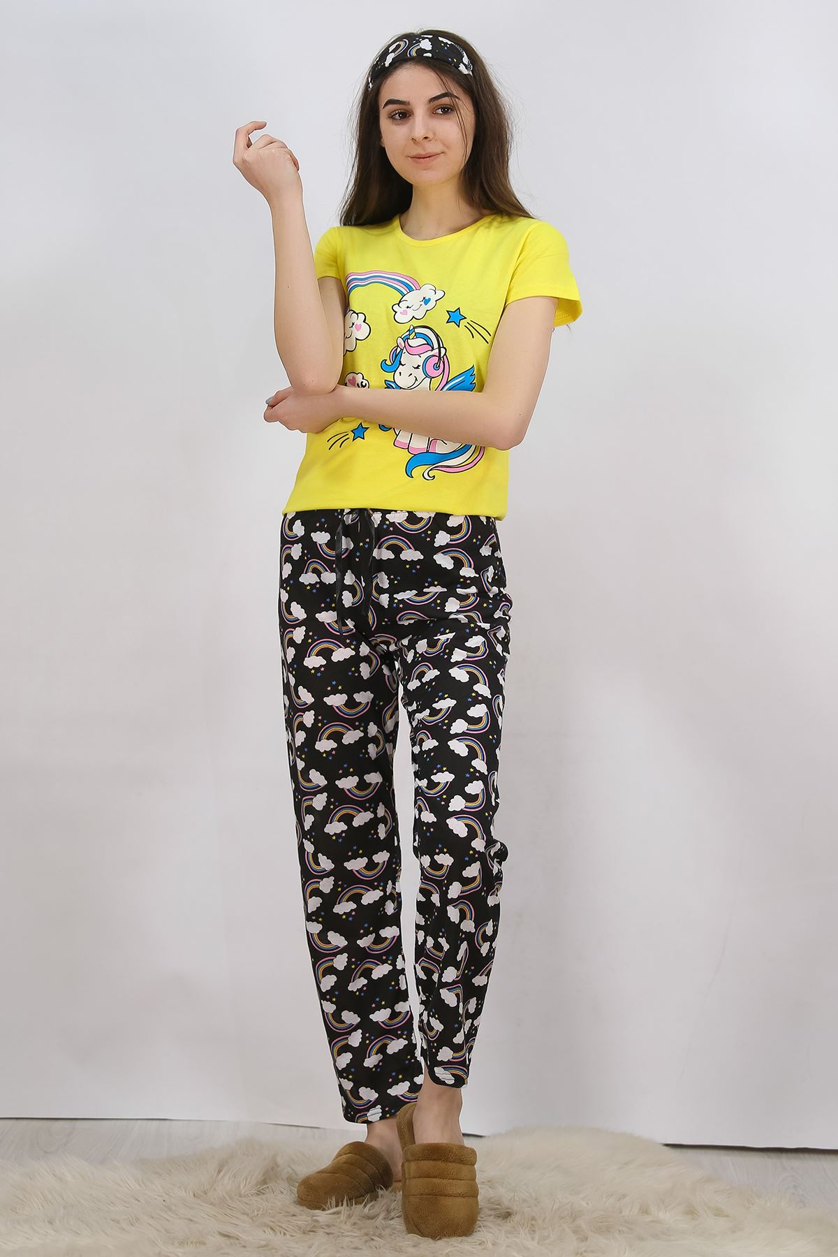 Baskılı Pijama Takımı Sarı - 4704.102.