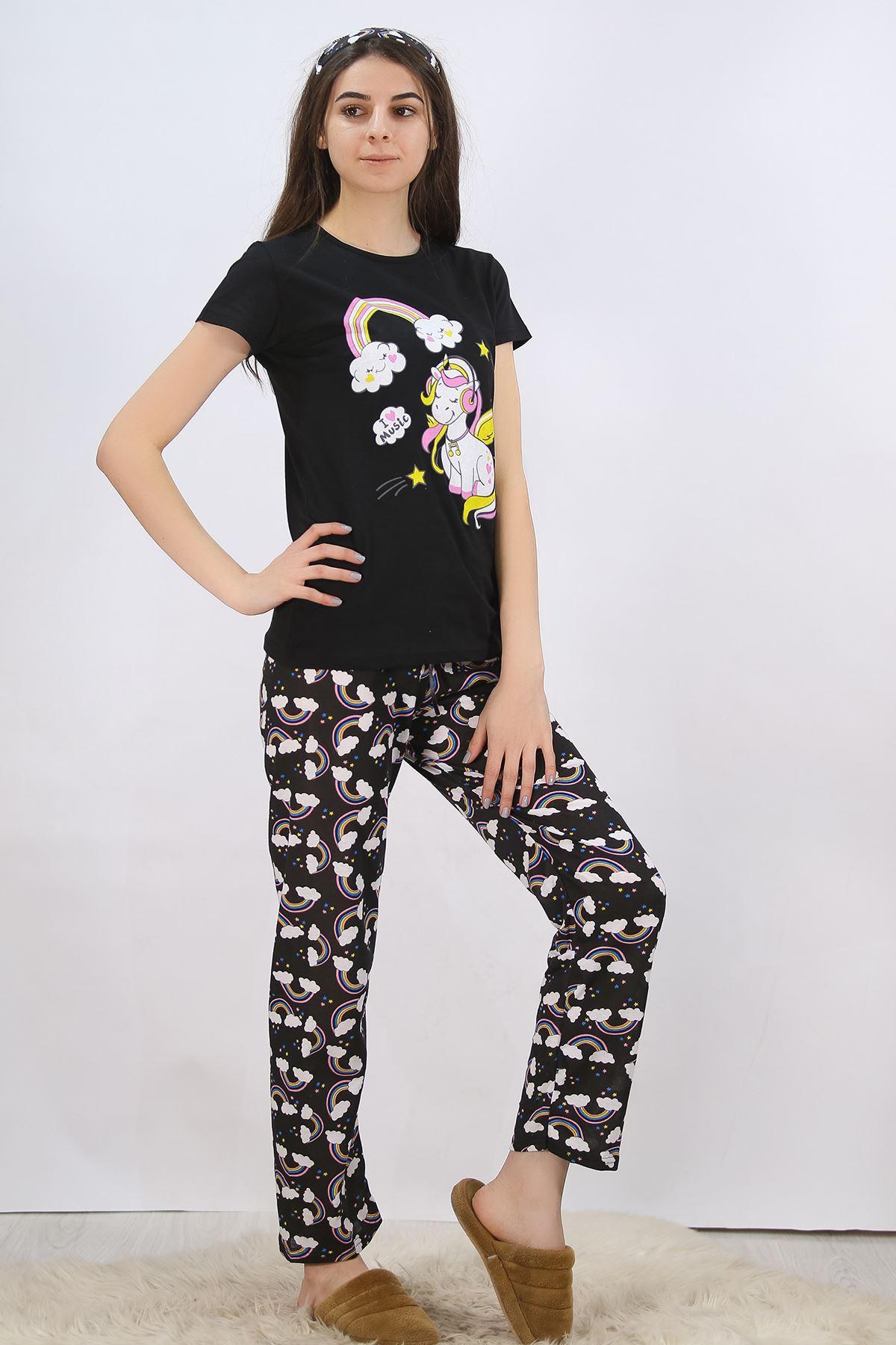 Baskılı Pijama Takımı Siyah - 4704.102.
