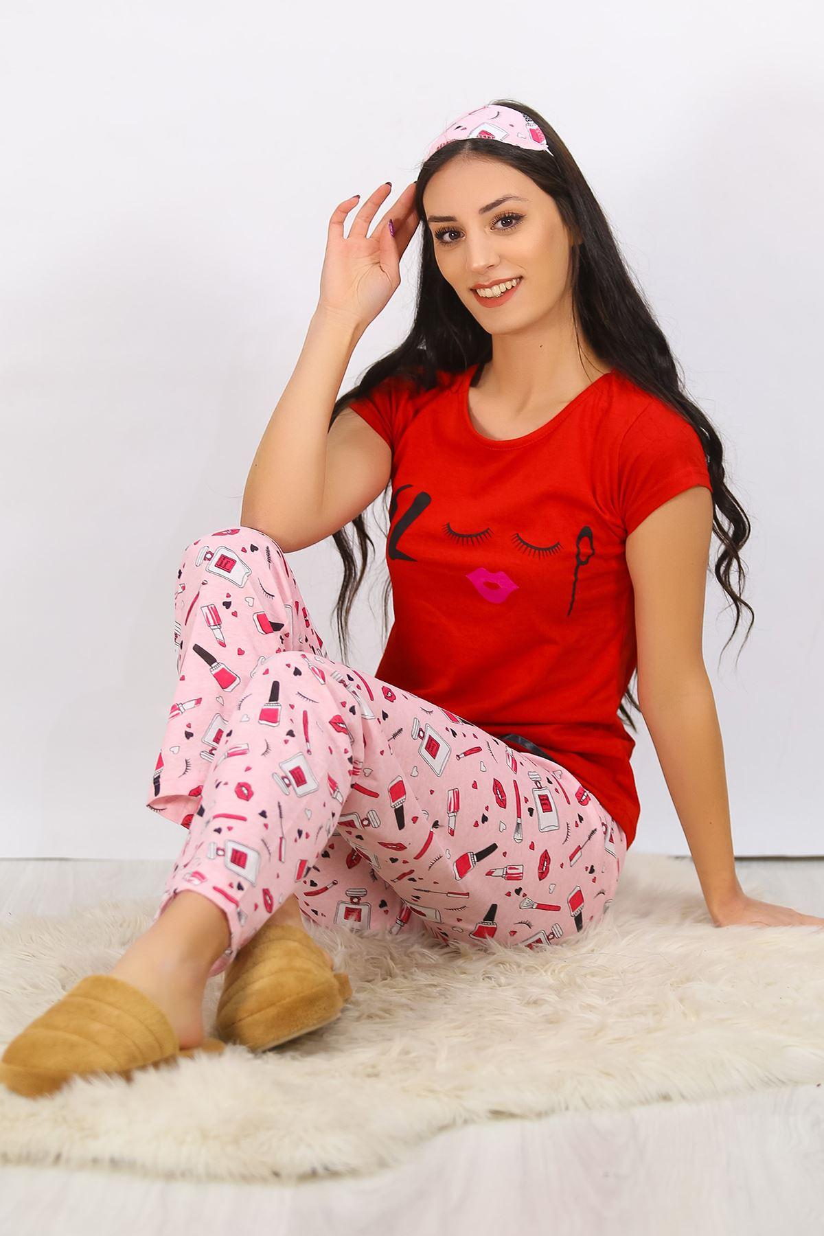 Baskılı Pijama Takımı Kırmızı - 4707.102.