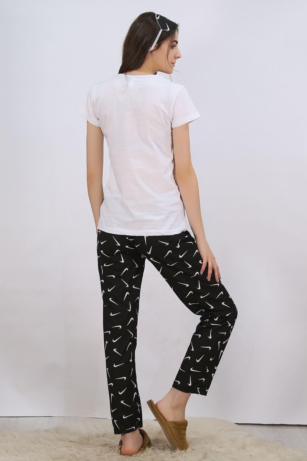 Baskılı Pijama Takımı Beyaz - 4714.102.