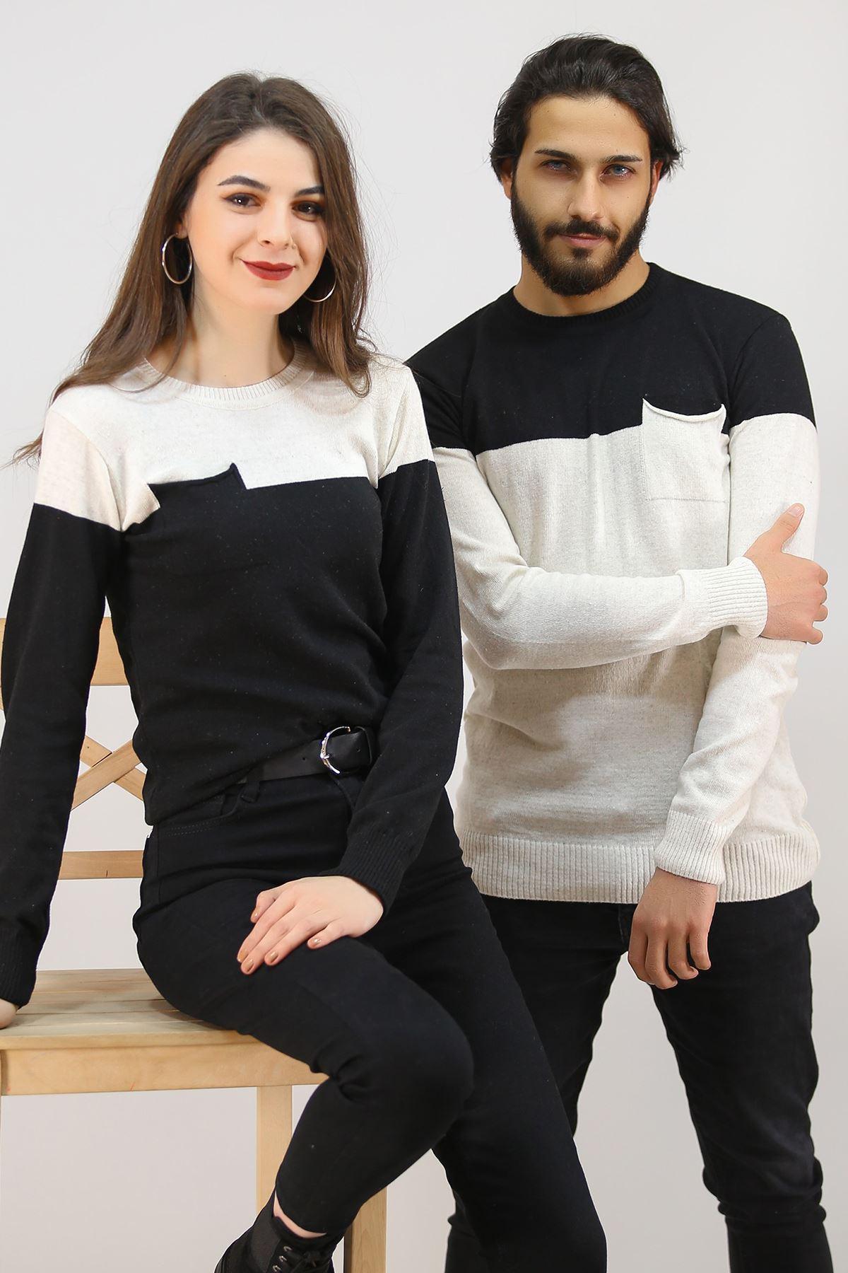 İki Renk Sevgili Kombini Ekrusiyah - 4763.1319.