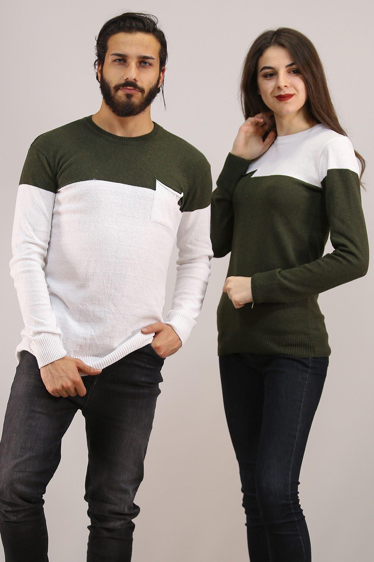 İki Renk Sevgili Kombini Beyazhaki - 4763.1319.