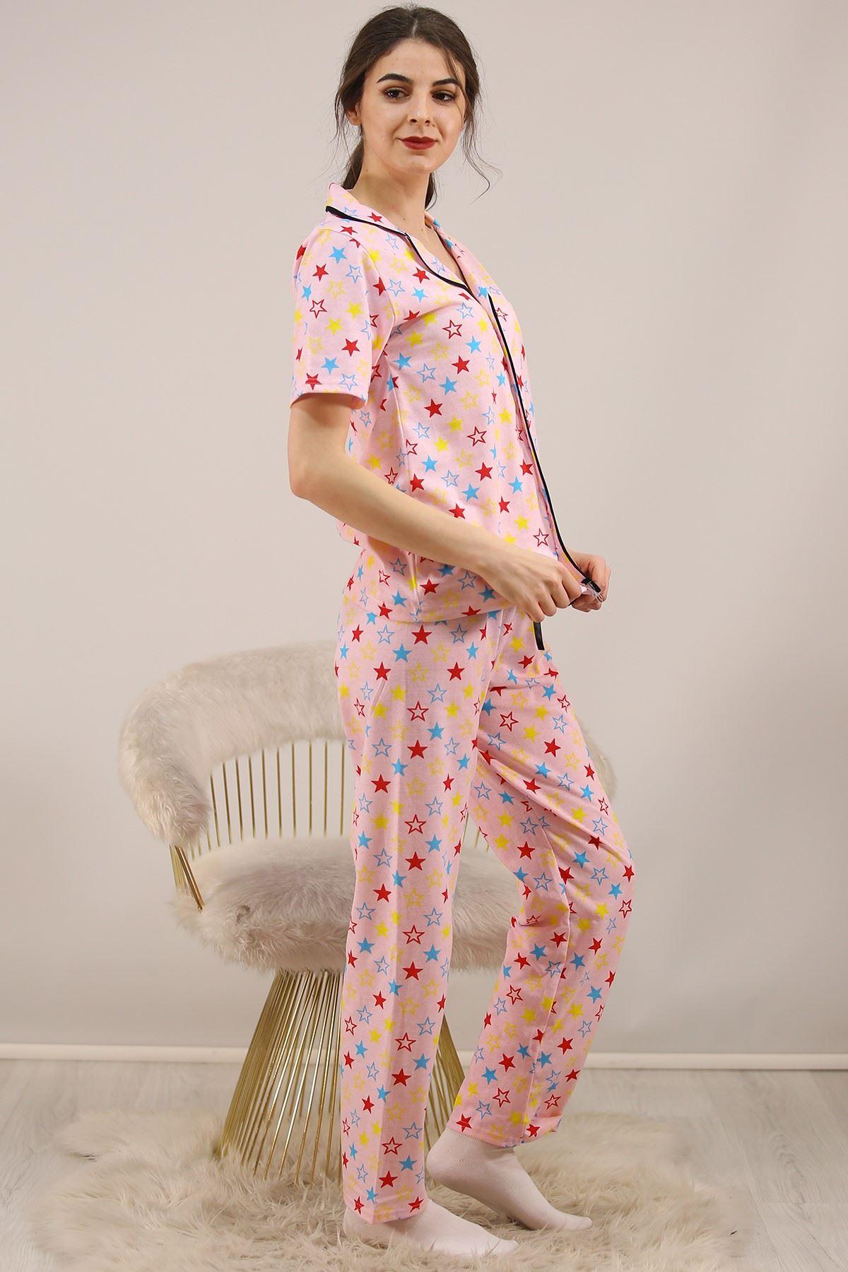 Düğmeli Penye Pijama Takımı Pudra - 4782.102.