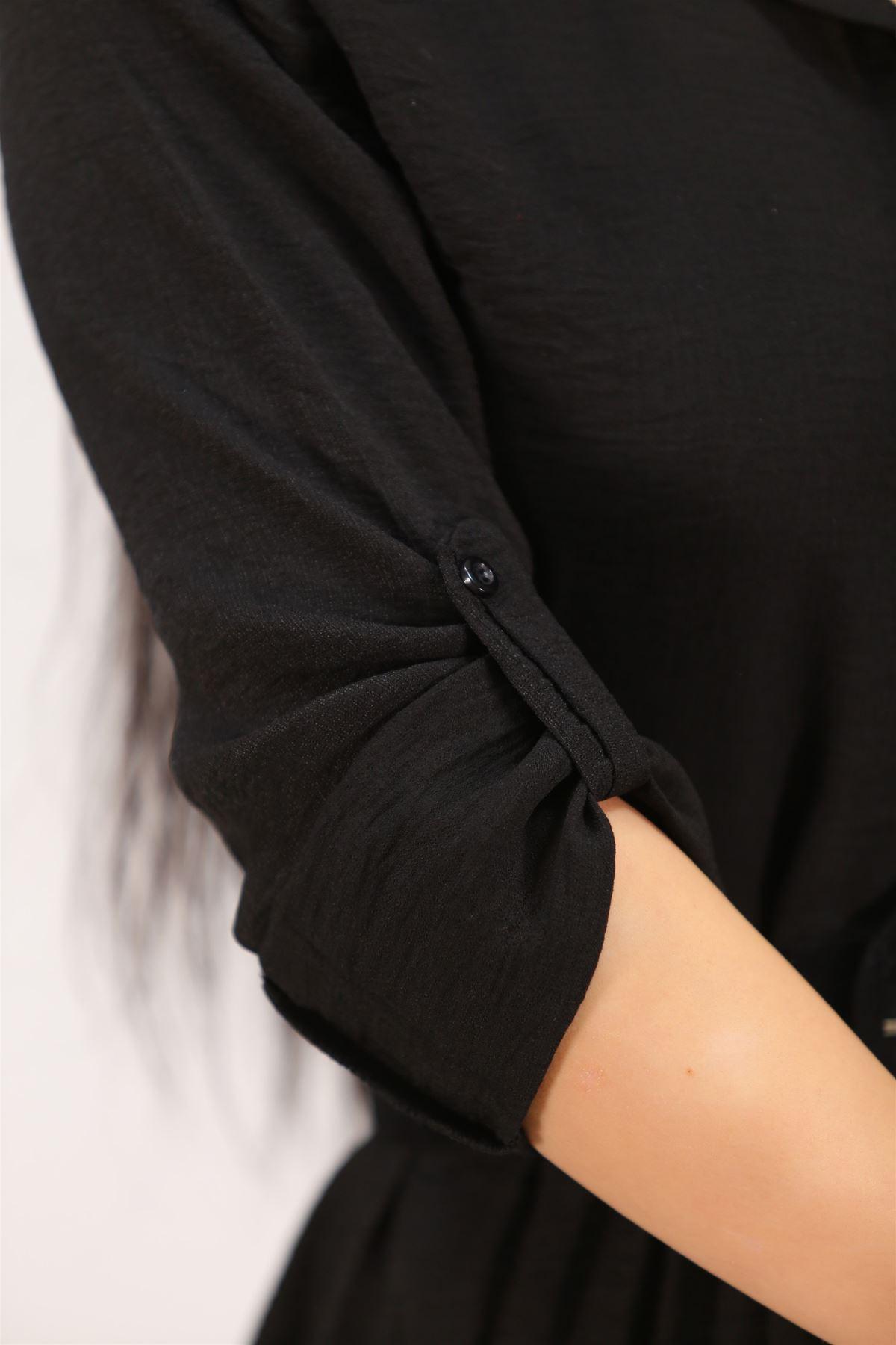 Katlama Kol Elbise Siyah - 4807.701.