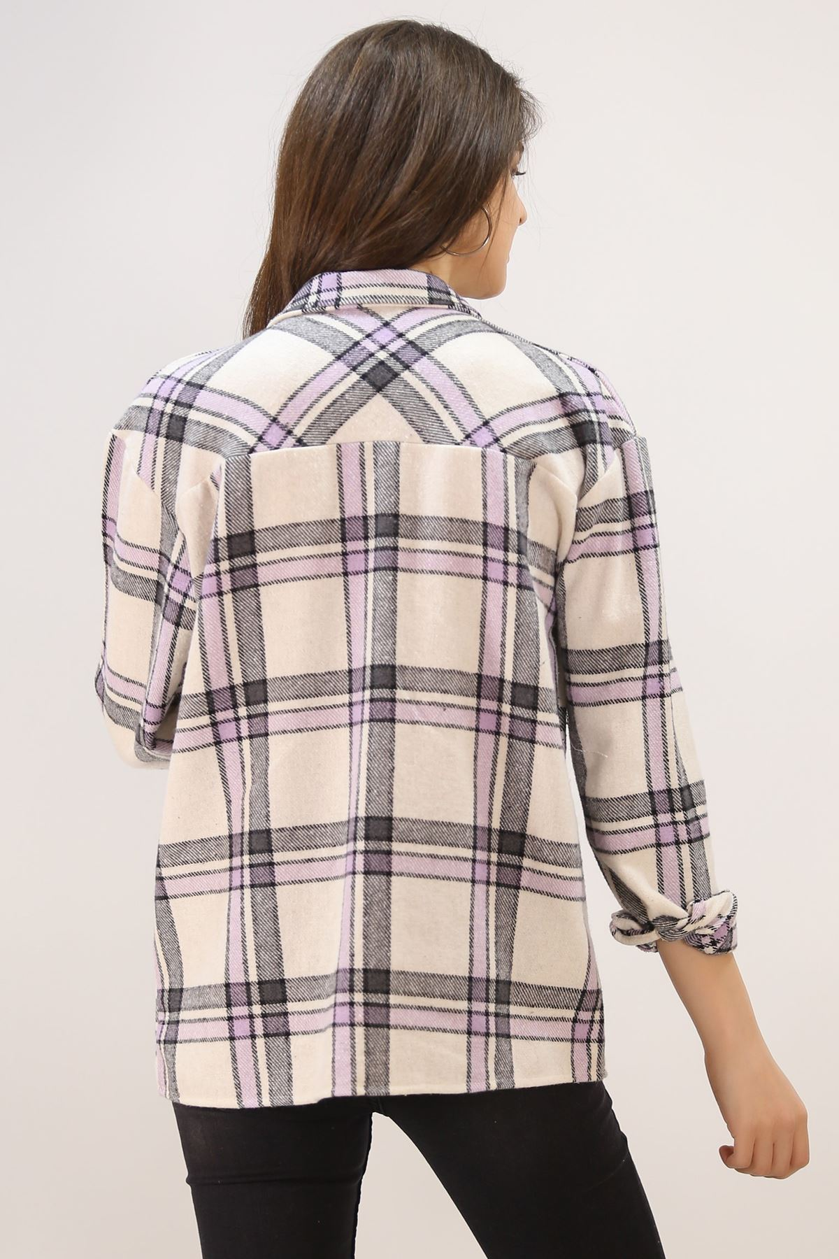 Çizgili Oduncu Gömlek Lila - 4802.365.