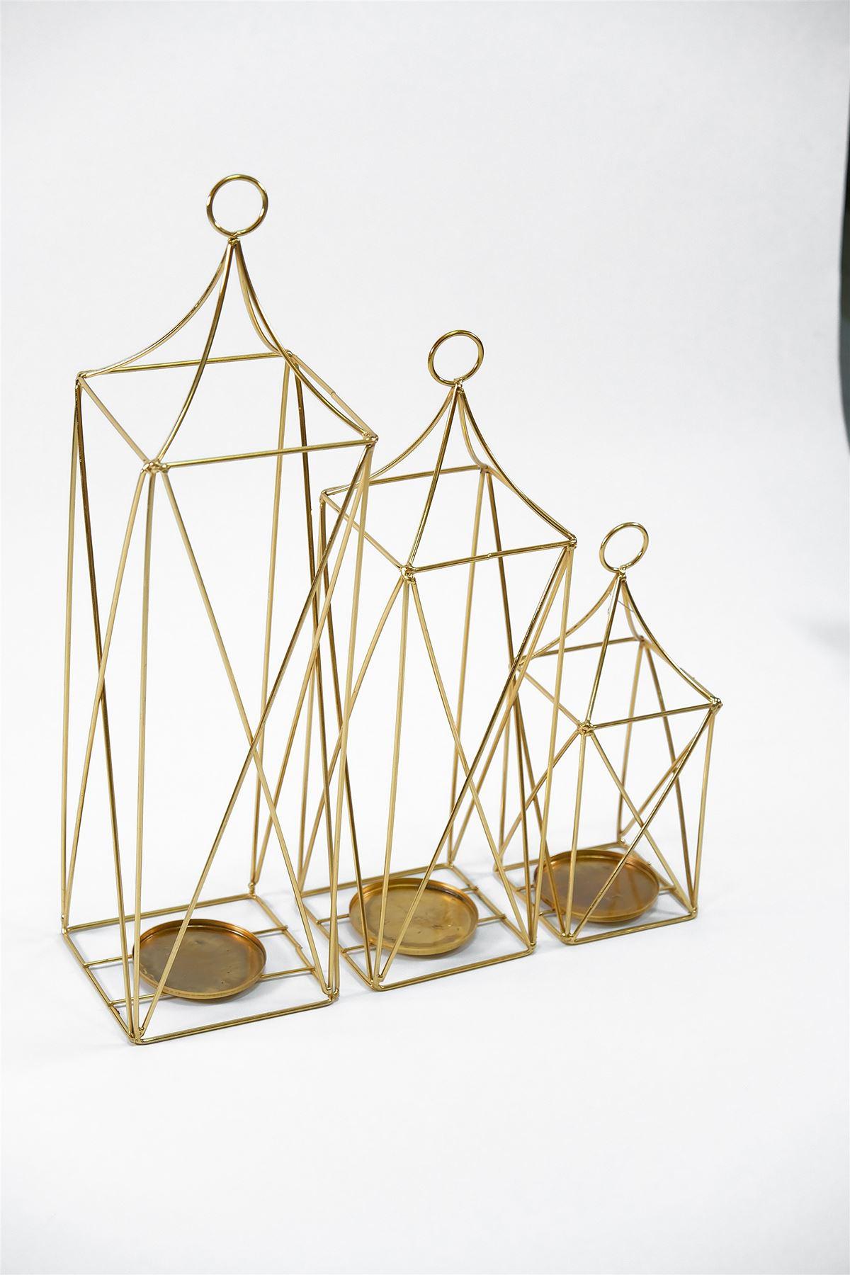 Dekoratif 3'Lü Fenerlik Gold - 4953.1343.