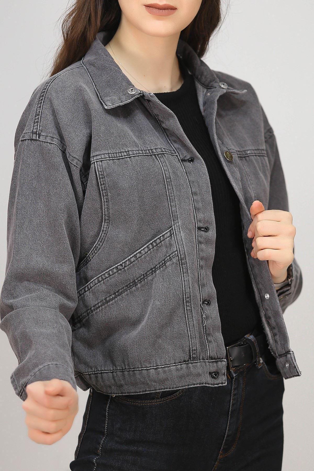 Kapşonlu Kot Ceket Füme - 4982.240.
