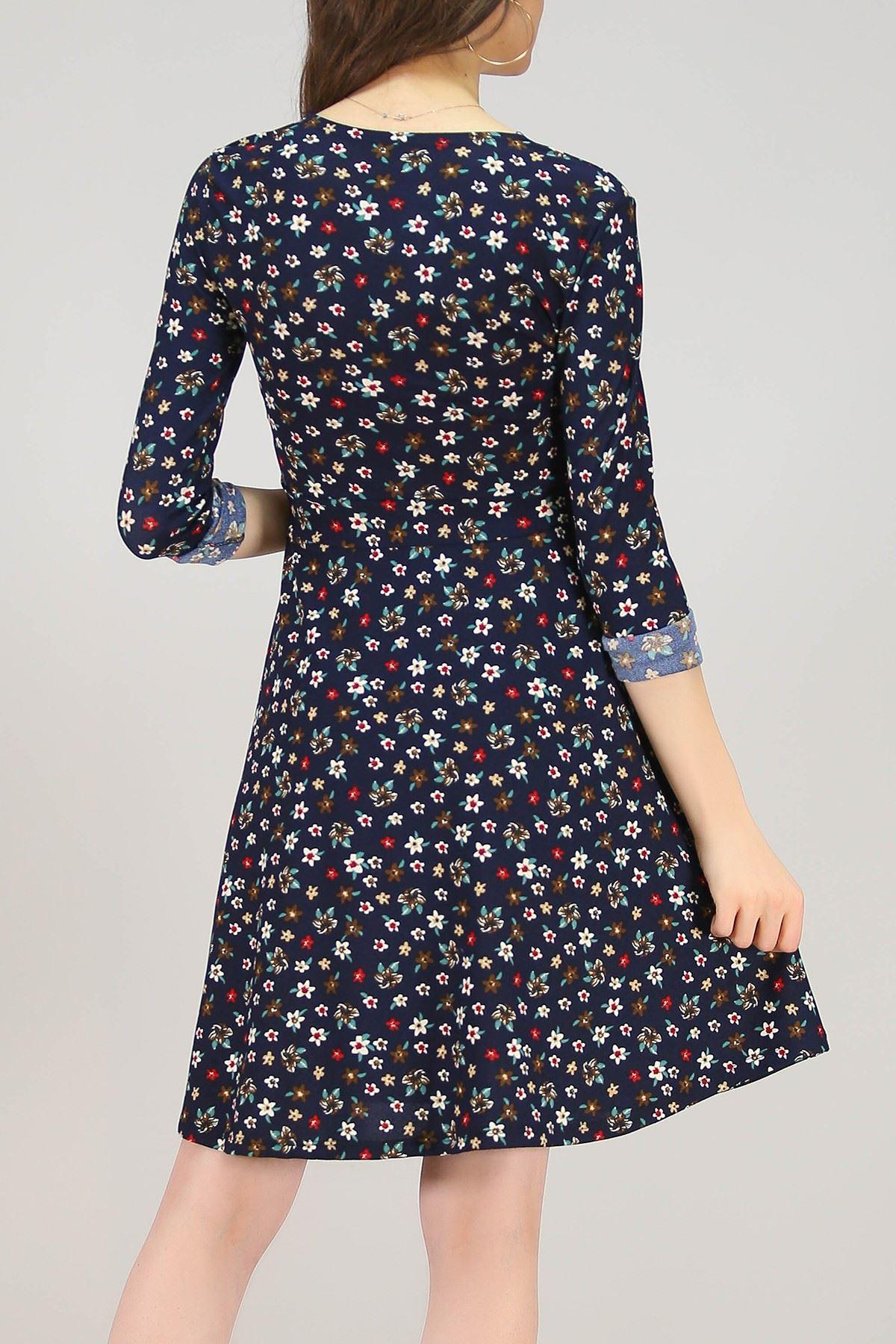 Desenli Elbise Lacivert - 4986.716.
