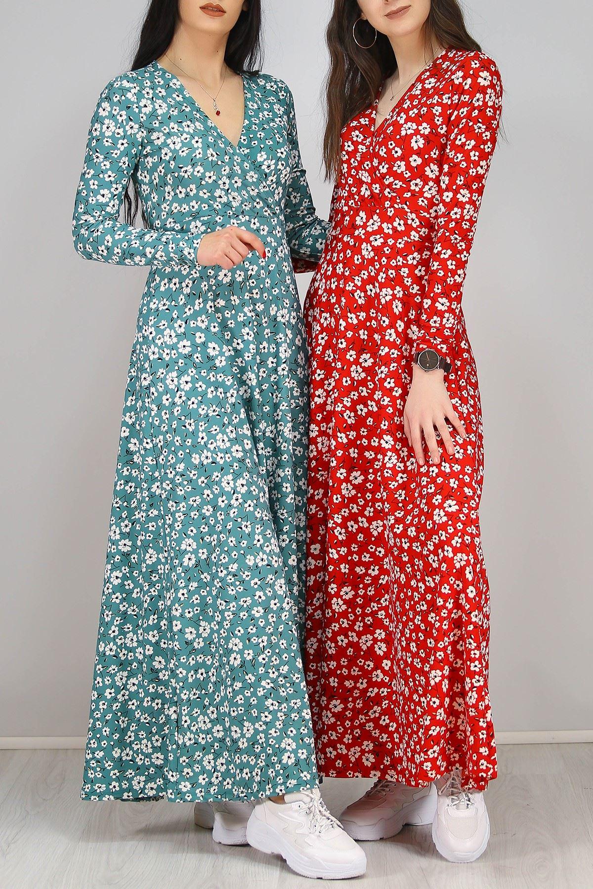 Çiçekli Elbise Kırmızı - 4987.716.