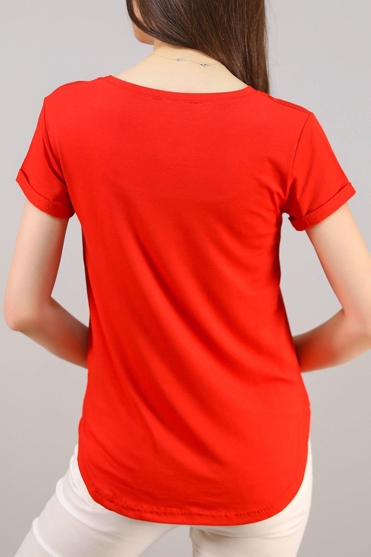 Kadın Cepli Bluz Kırmızı - 1470.1095.