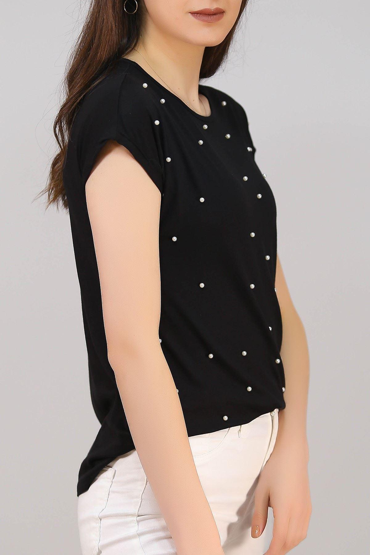 İnci Taşlı Tişört Siyah - 5040.139.