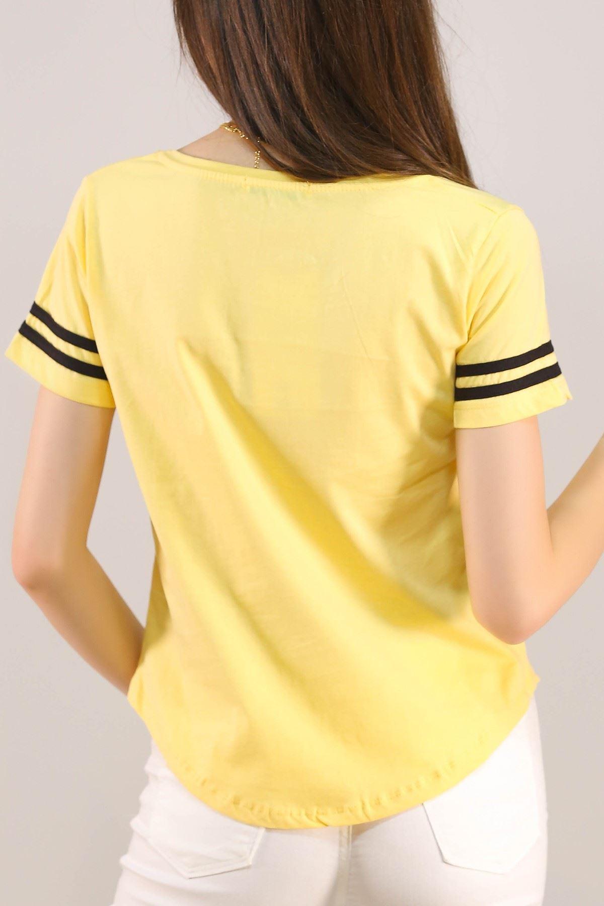 Yazılı V Yaka Tişört Sarı - 1037.275.