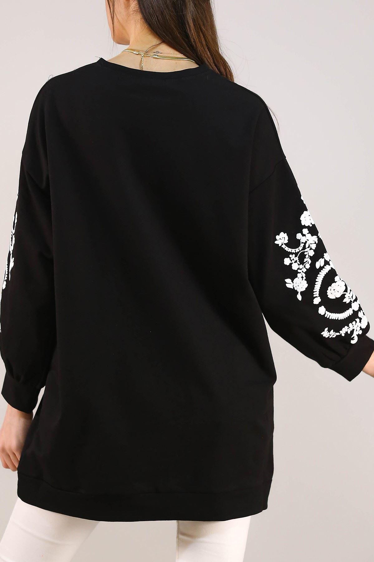 Kolları Çiçek Baskılı Sweat Siyah - 3064.105.
