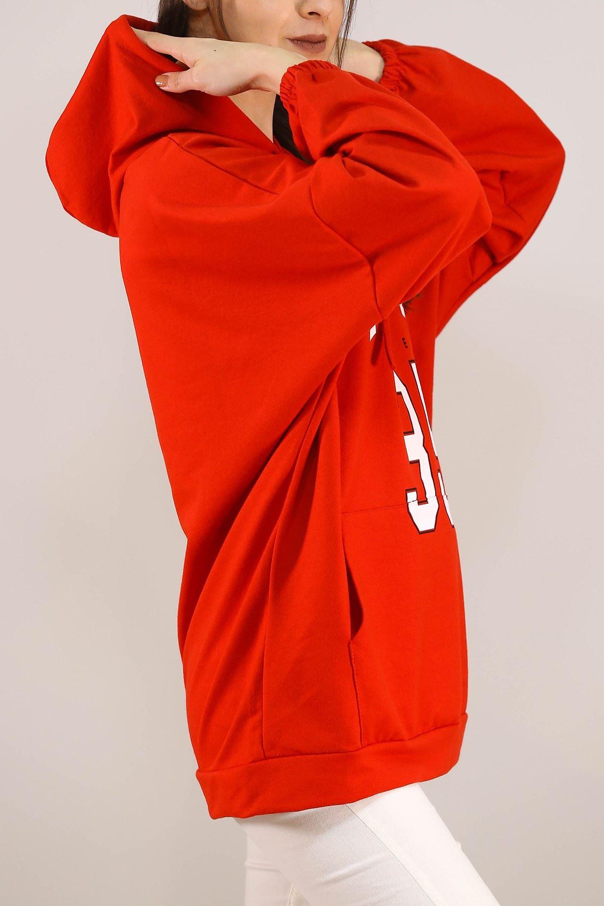 Kapşonlu Baskılı Sweat Kırmızı - 3146.105.