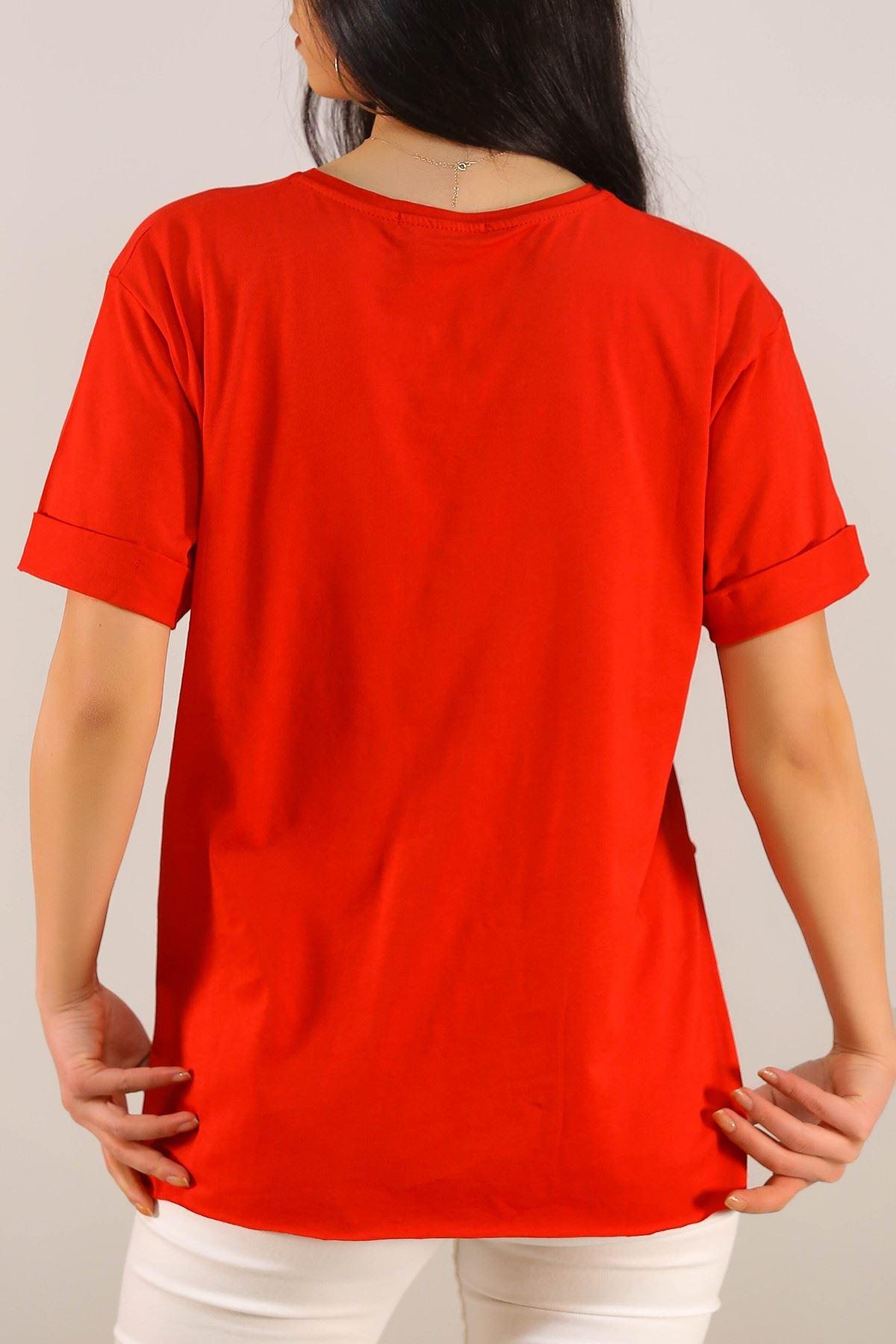 Yazı Baskılı Tişört Kırmızı - 5081.275.