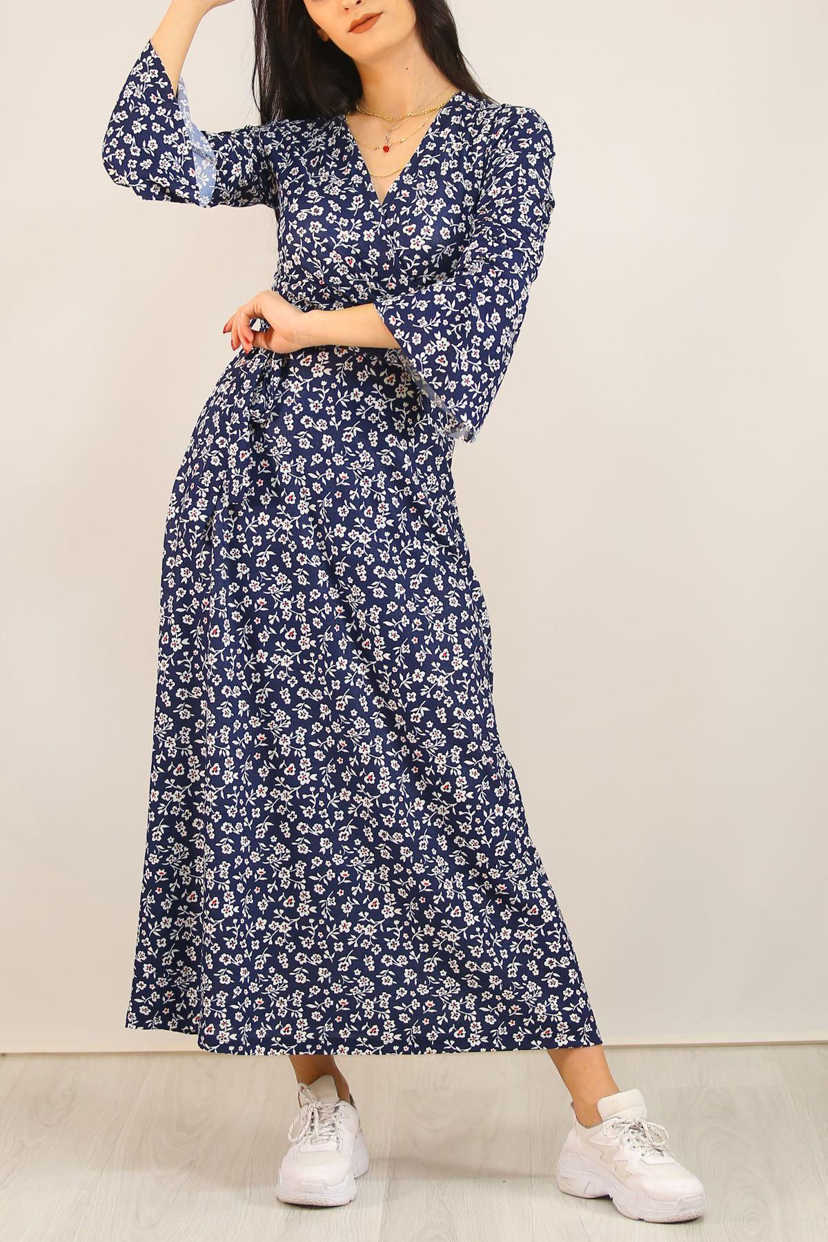 Kemerli Çiçekli Elbise Lacivert - 5073.716.